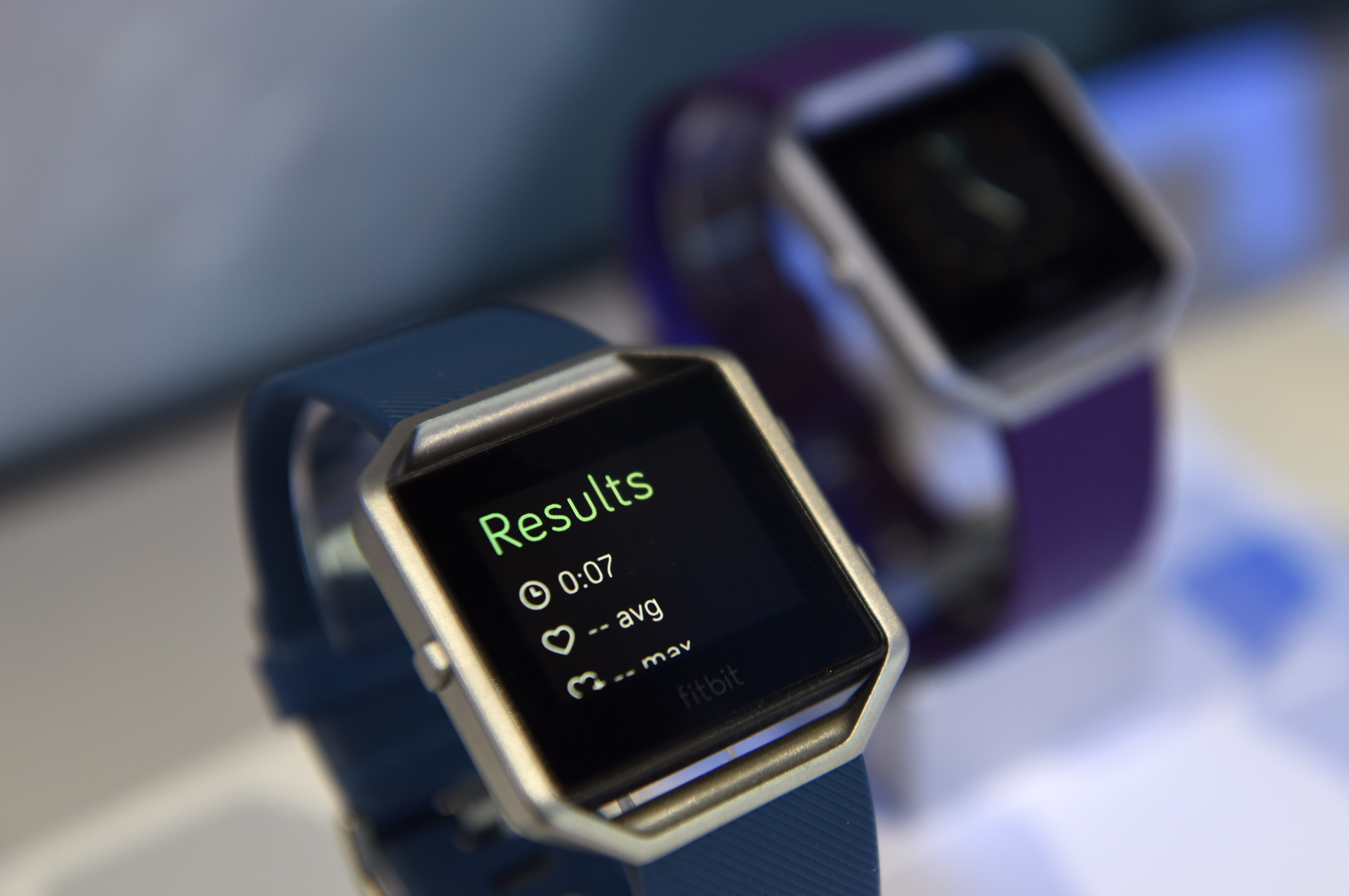 The Fitbit Inc. Blaze fitness tracker is displayed during the 2016 Consumer Electronics Show (CES) in Las Vegas, Nevada, U.S., on Friday, Jan. 8, 2016.