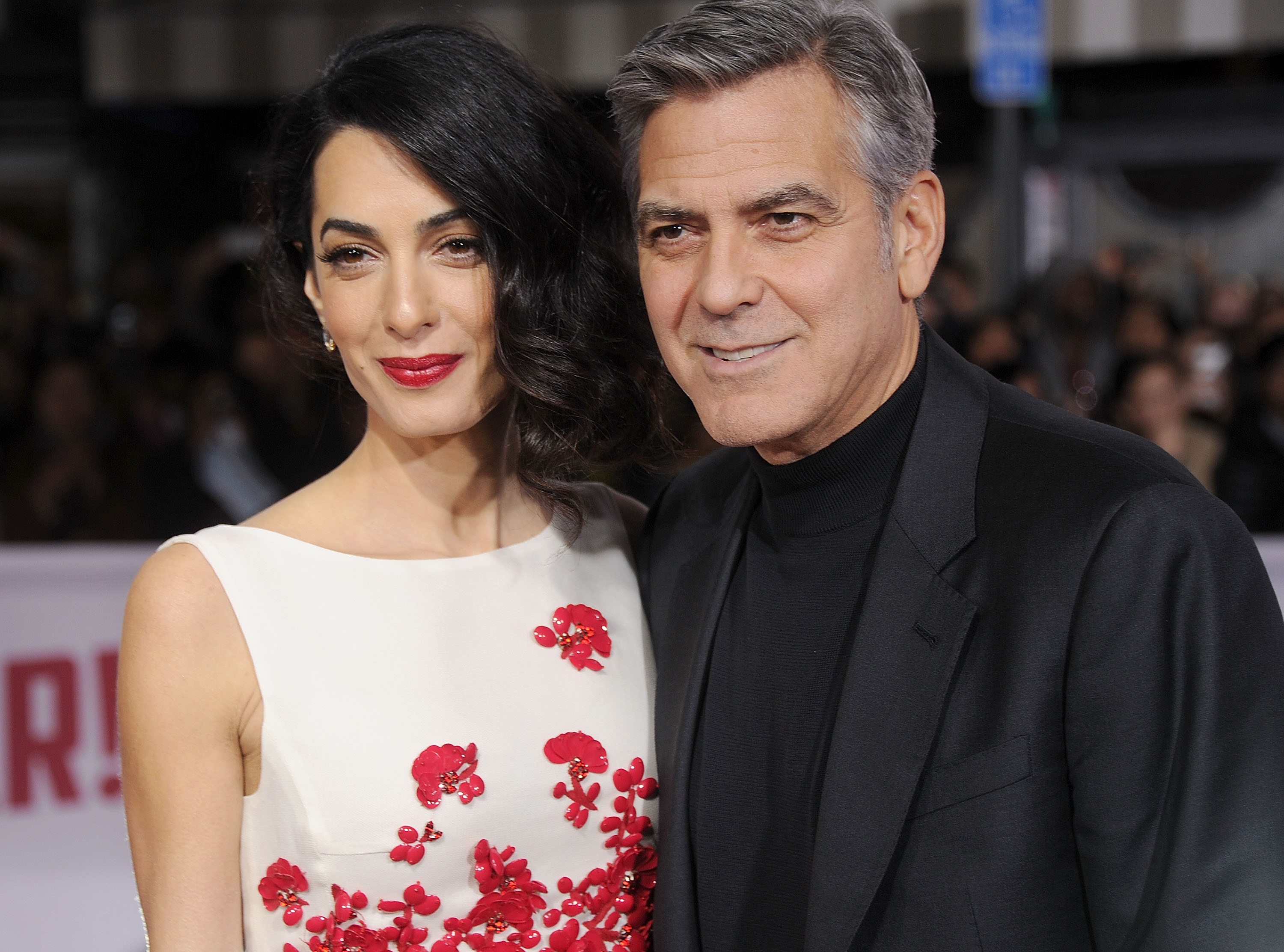George Clooney arrives at the premiere of Universal Pictures'  Hail, Caesar!  at Regency Village Theatre on February 1, 2016 in Westwood, California.