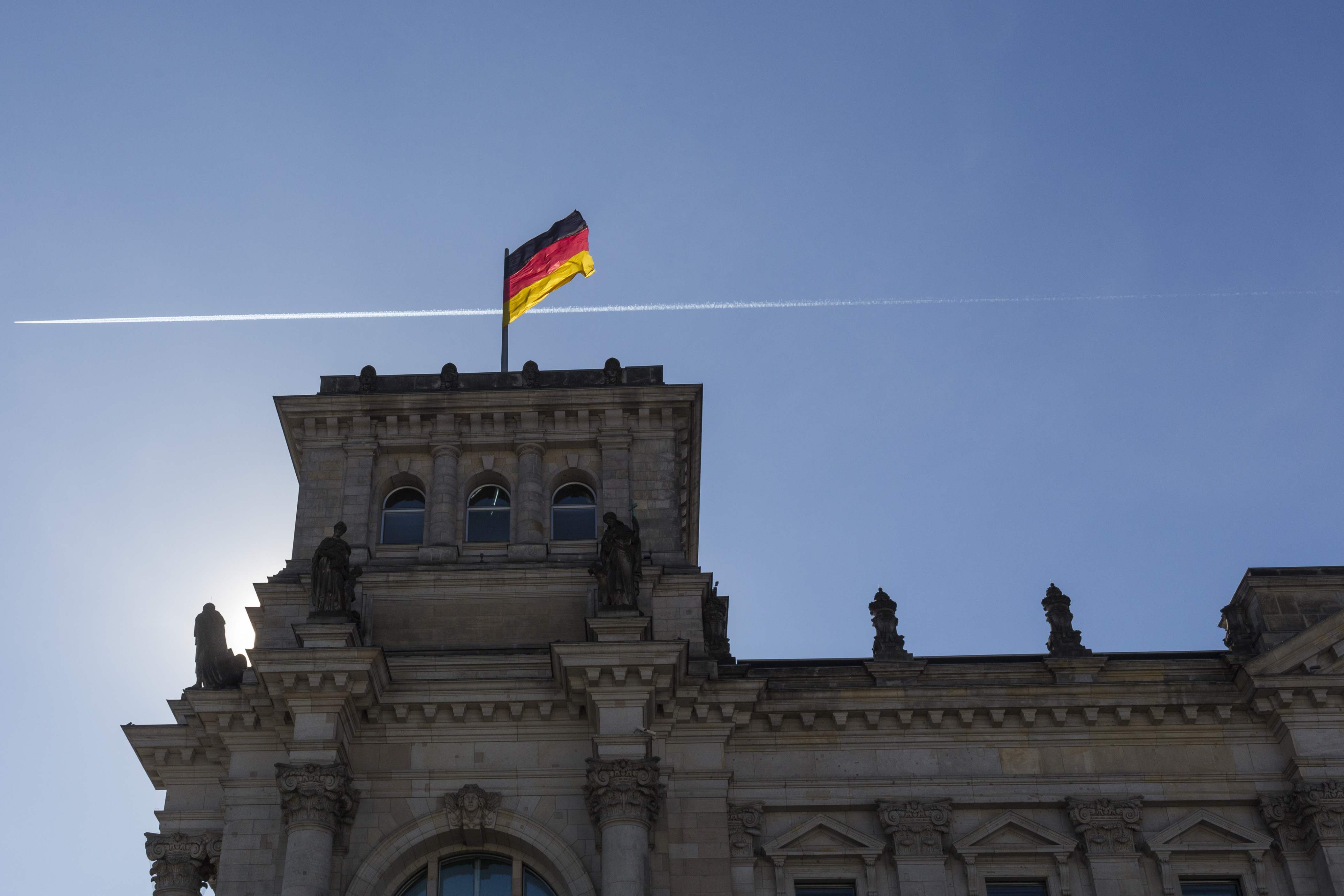 The German Parliament building with flag on February 24, 2014 in Berlin, Germany.