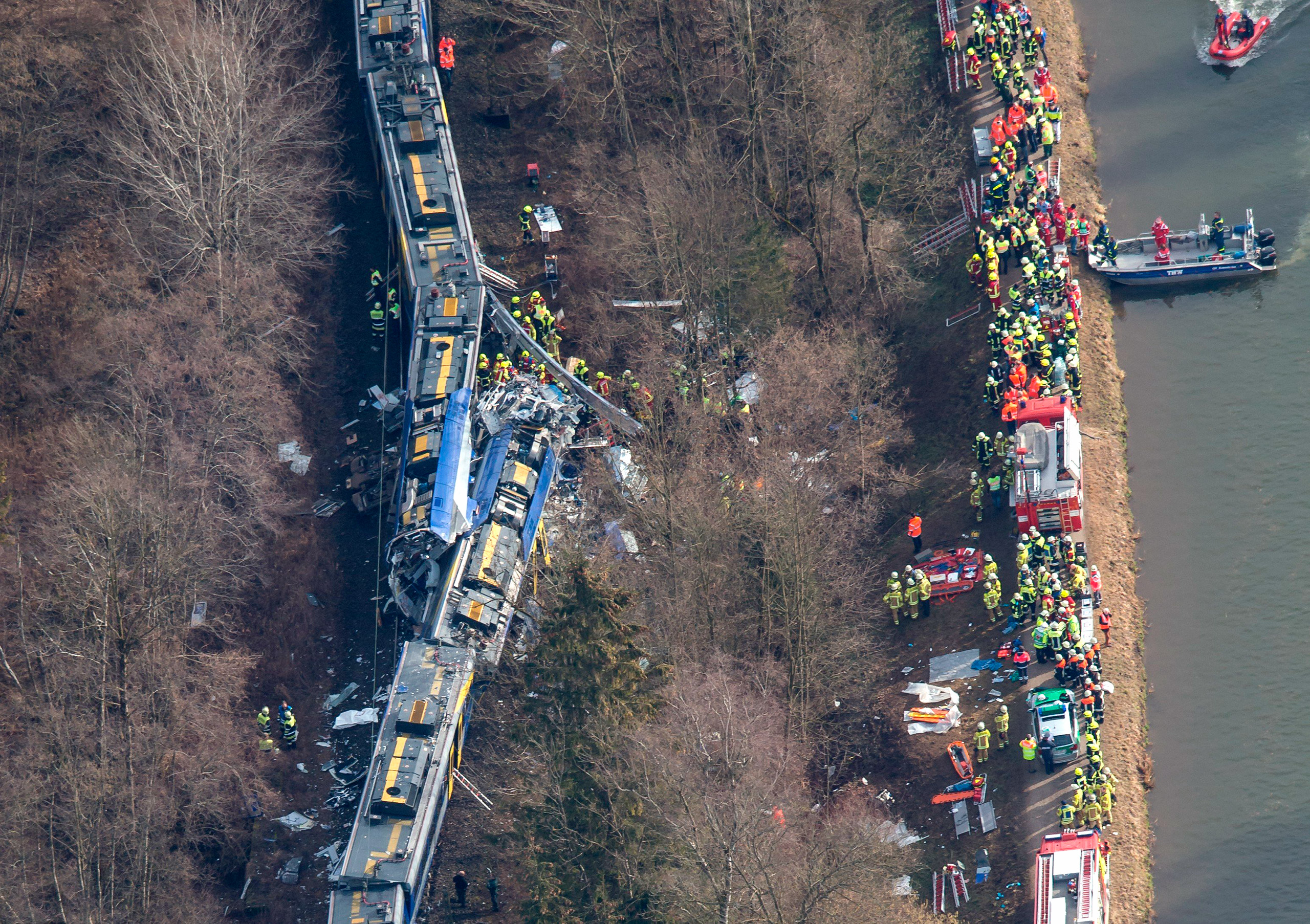 An aerial view of rescuers working at the site of a train accident near Bad Aibling, Germany, Feb. 9, 2016.