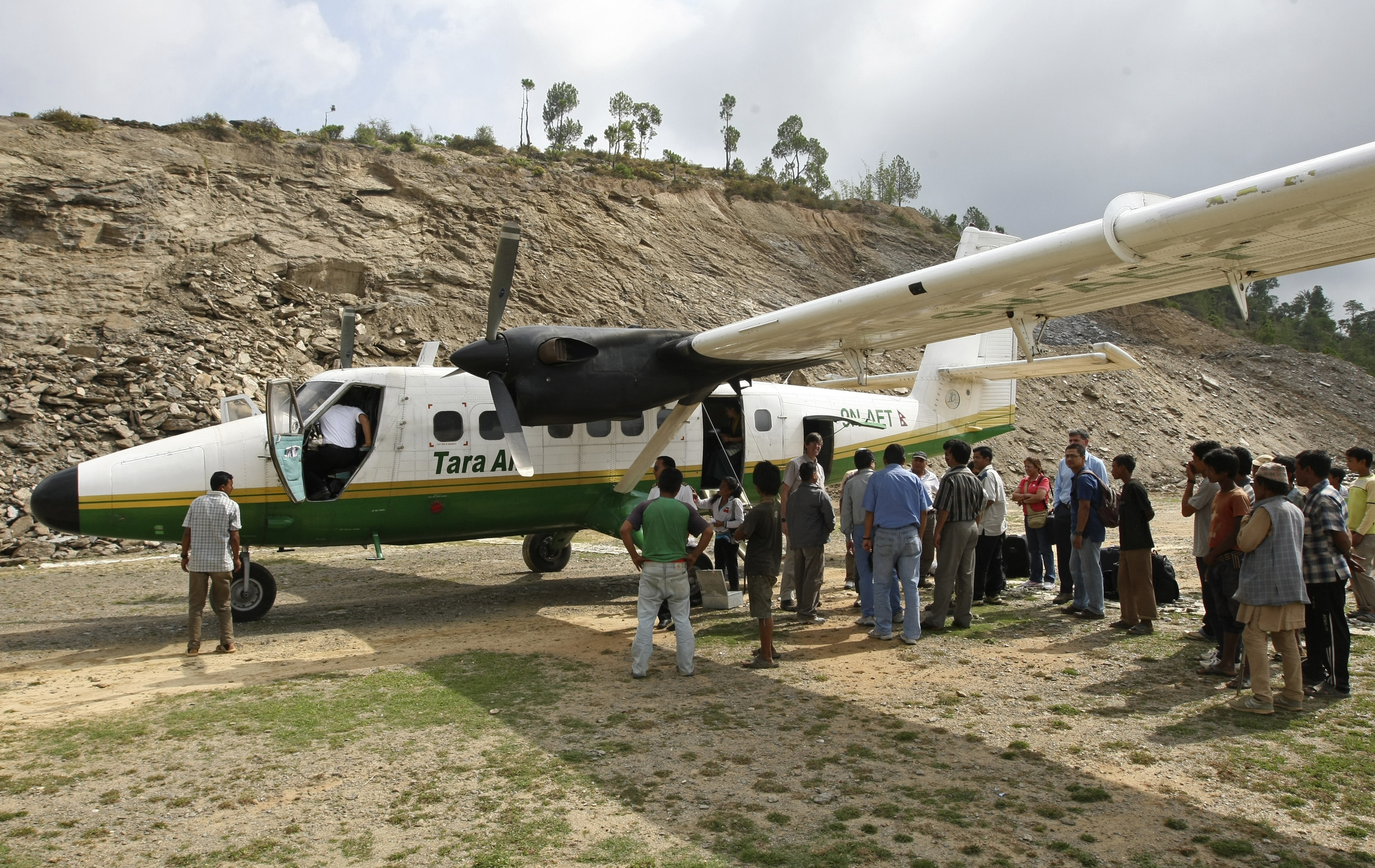 In this photo taken on June 1, 2010, a Tara Air DHC-6 Twin Otter aircraft is seen at the Lamidanda airstrip, some 120 kms east of Kathmandu.