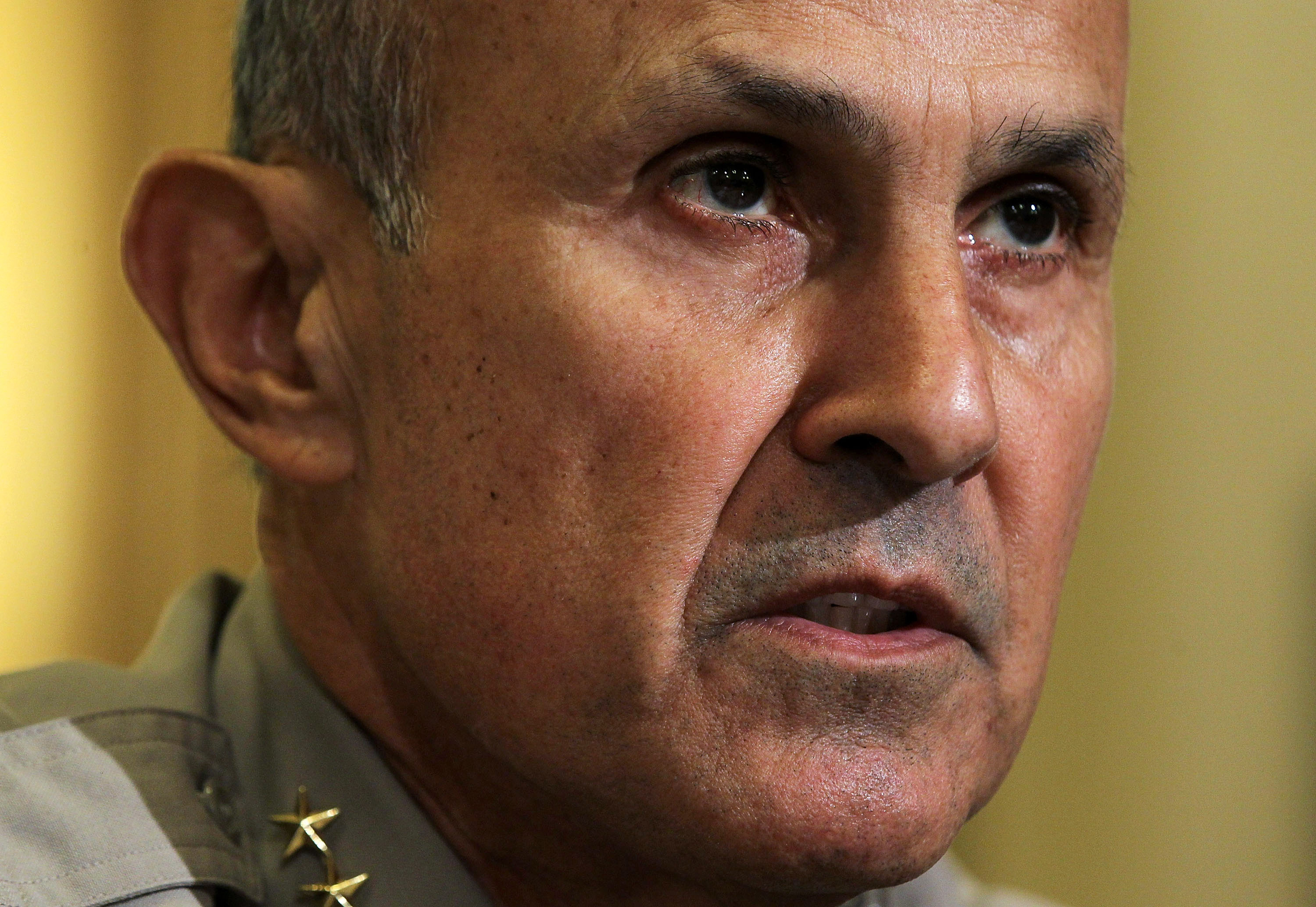 Sheriff Leroy Baca  of Los Angeles County, California, testifies during a hearing before the House Homeland Security Committee March 10, 2011 on Capitol Hill in Washington, DC. The Homeland Security held the hearing to examine  The Extent of Radicalization in the American Muslim Community and that Community's Response.