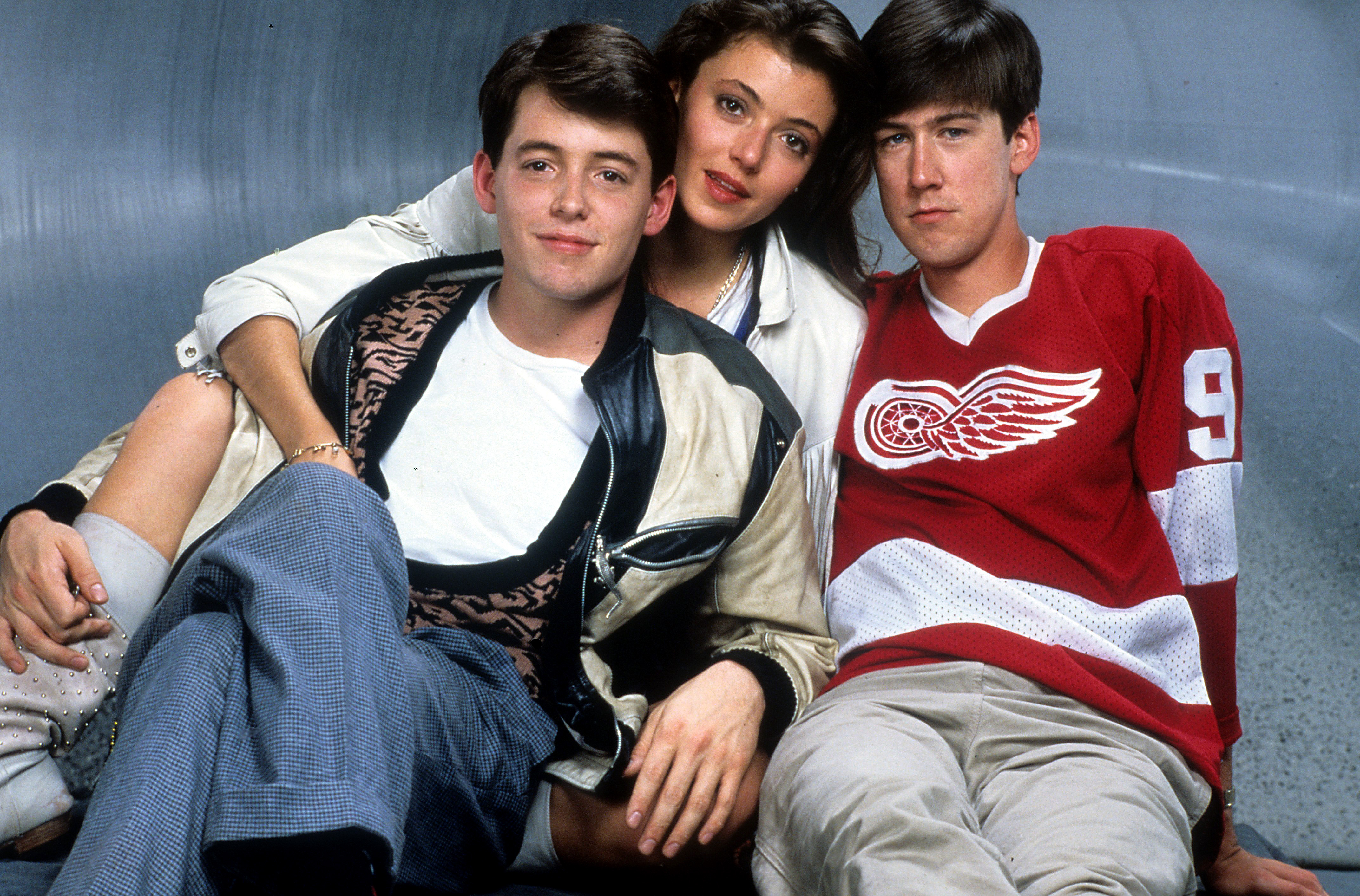 Matthew Broderick, Mia Sara and Alan Ruck publicity portrait for the film 'Ferris Bueller's Day Off', 1986