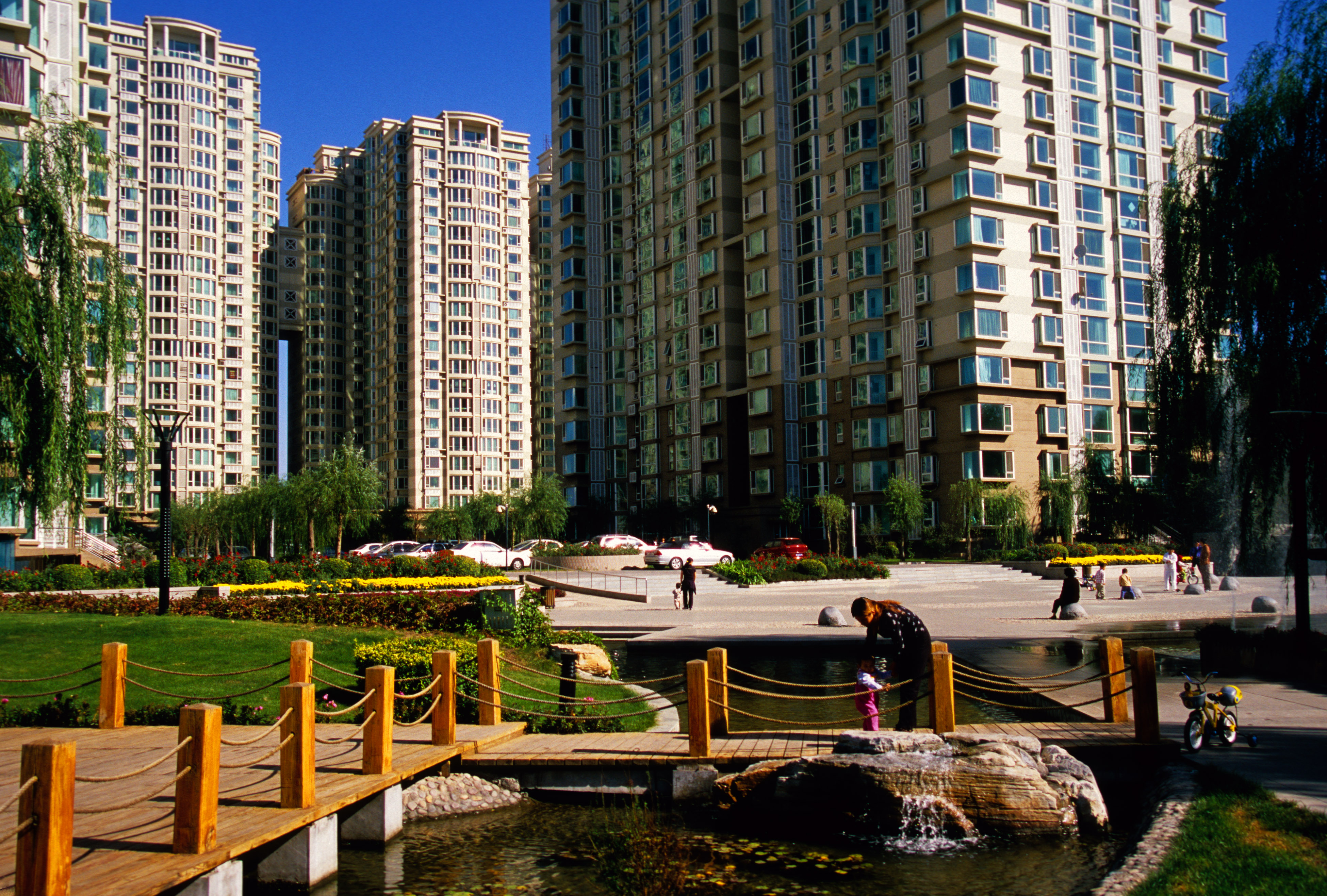 Gated apartment community in the eastern suburb of Tongzhou, in Beijing