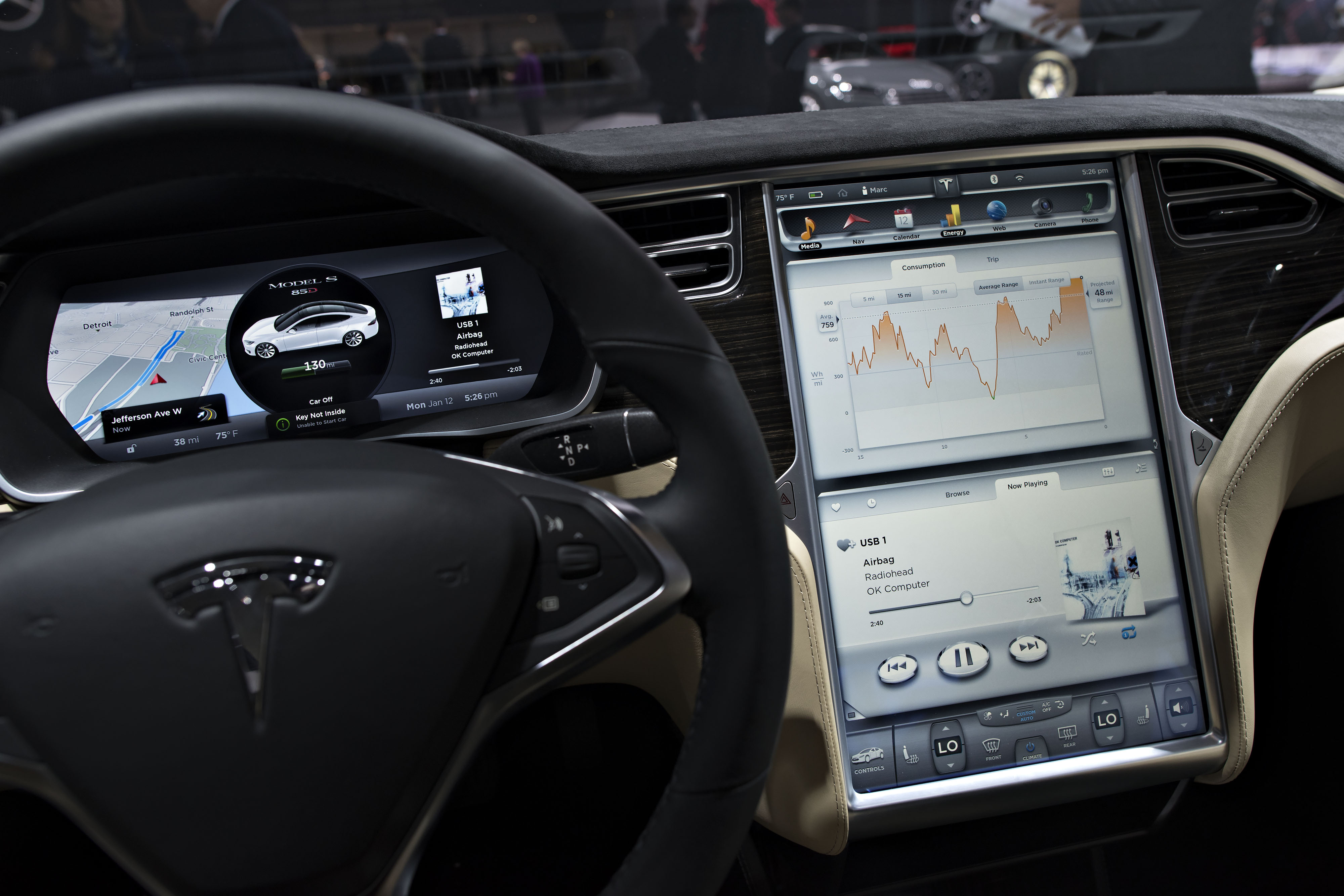 The dashboard of a Tesla Motors Inc. Model S P85 vehicle is displayed at the 2015 North American International Auto Show (NAIAS) in Detroit, Michigan, U.S., on Monday, Jan. 12, 2015.