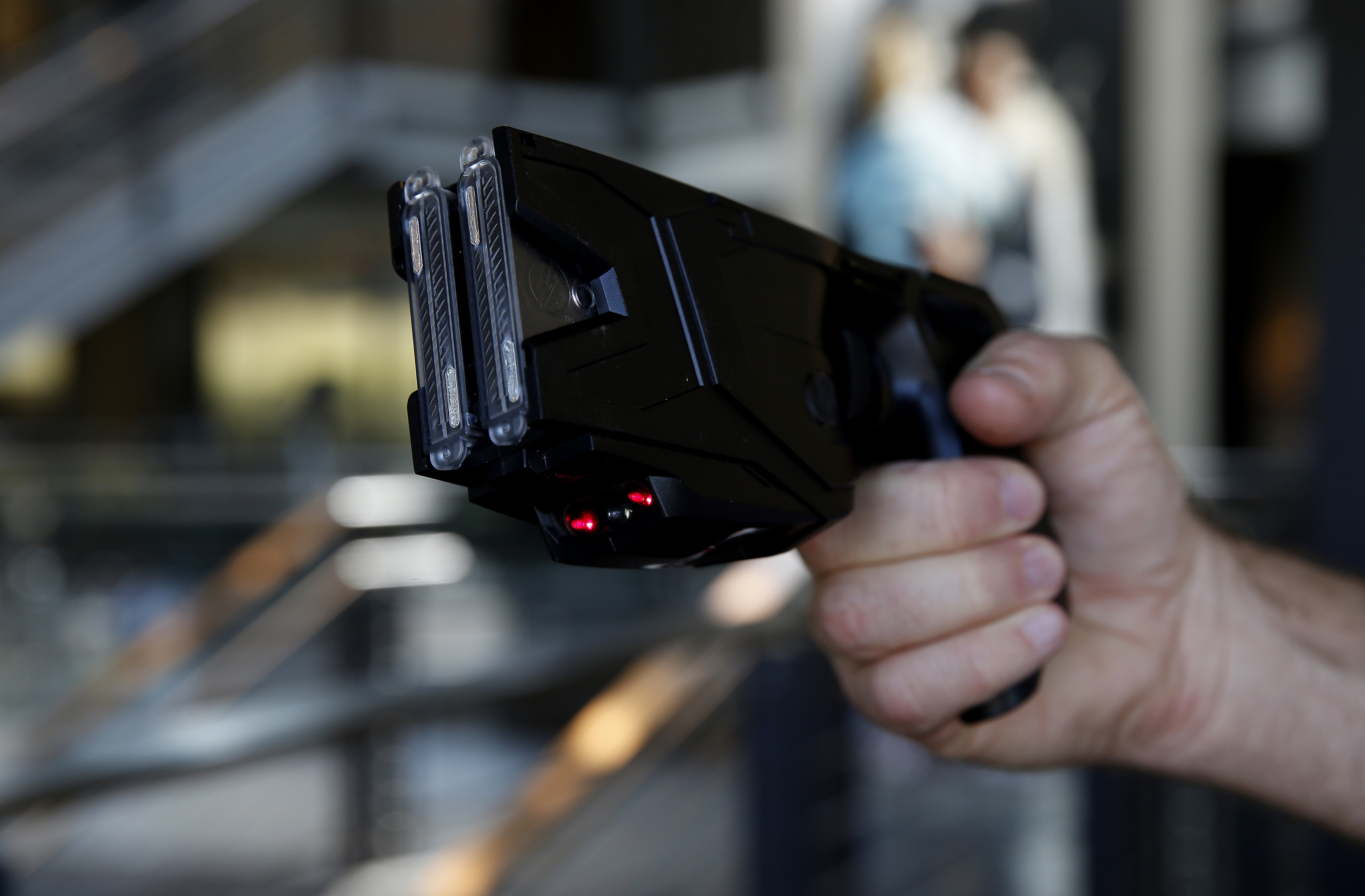 The Taser X2 electronic weapon arranged for a photograph at the Taser International headquarters in Scottsdale, Ariz., April 22, 2015