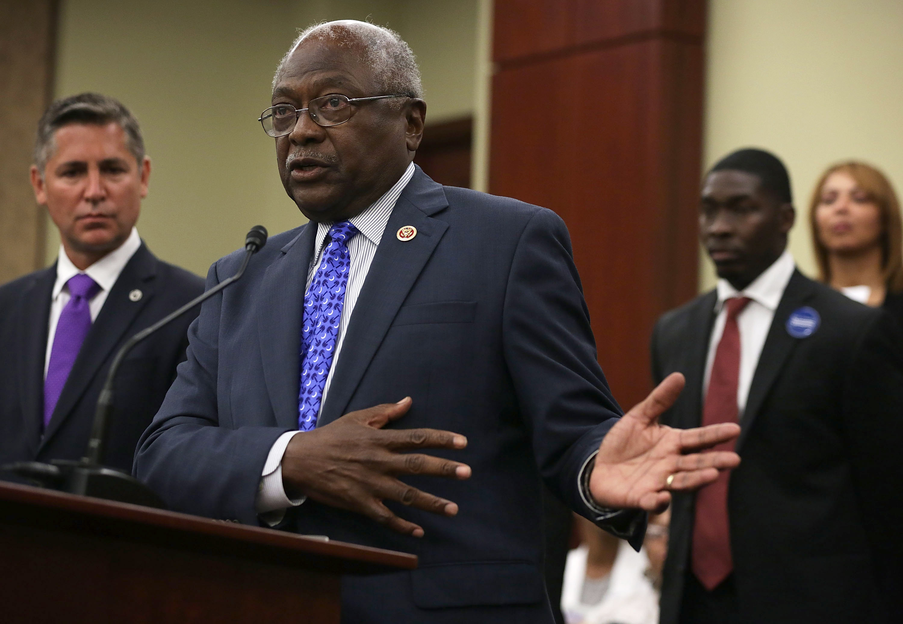U.S. House Assistant Democratic Leader James Clyburn (D-SC) (2nd L) speaks as President of the Brady Campaign to Prevent Gun Violence Dan Gross, and Andre Duncan (3rd L), nephew of Myra Thompson, one of the victims of the June 17 shooting at the Emanuel AME Church in Charleston, S.C., listen during a news conference July 8, 2015 on Capitol Hill in Washington, DC.                       (Alex Wong--Getty Images)