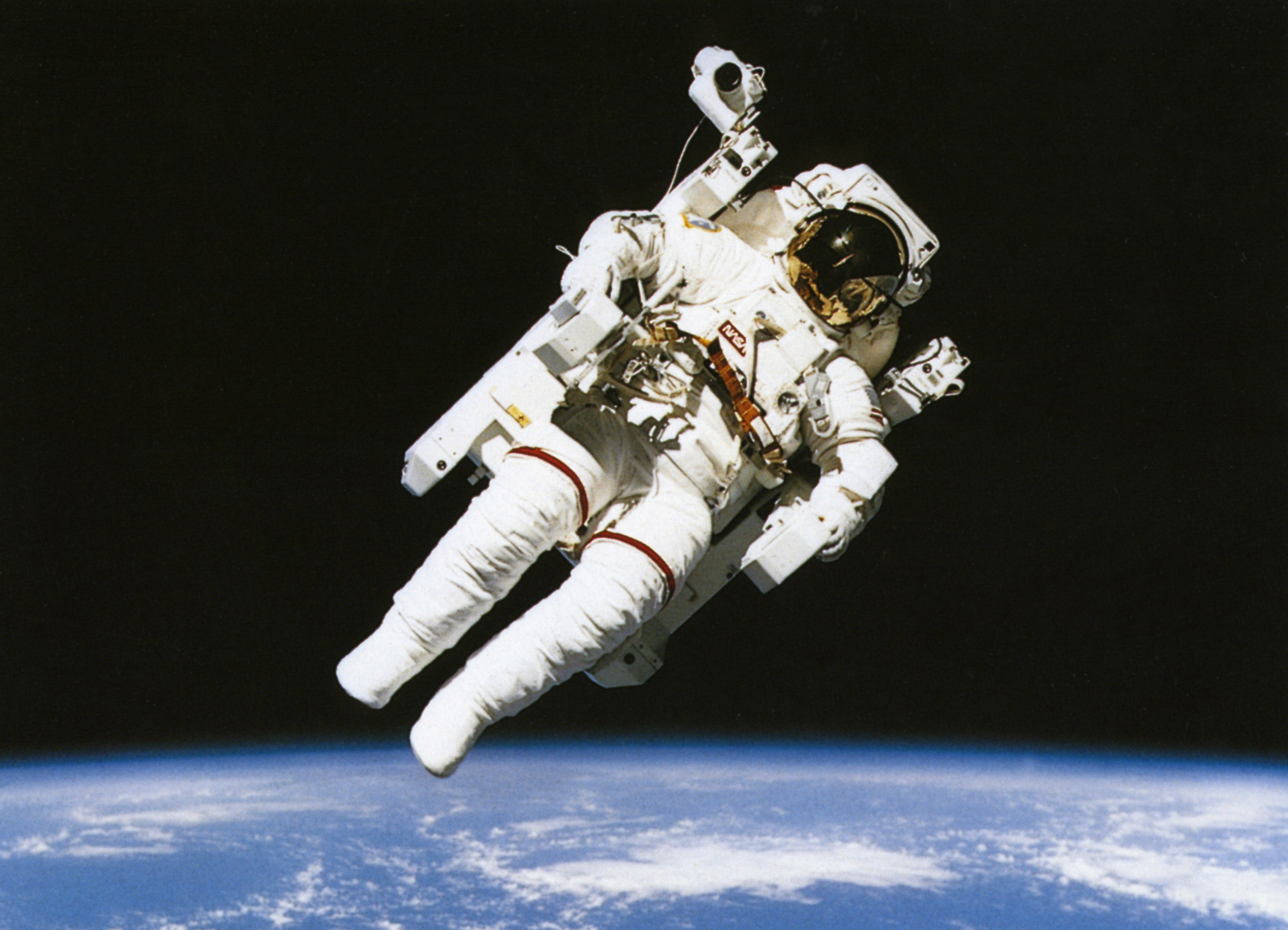 Science, Space, Nasa, Astronaut floating in orbit above the earth during spacewalk.(Eye Ubiquitous--UIG via Getty Images)