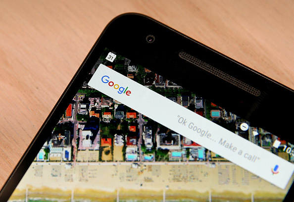 The Google logo is displayed on the new Nexus 5X phone during a Google media event on September 29, 2015 in San Francisco, California.