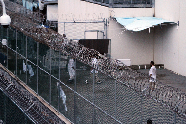 Guantanamo Bay detainees play soccer in 2012.