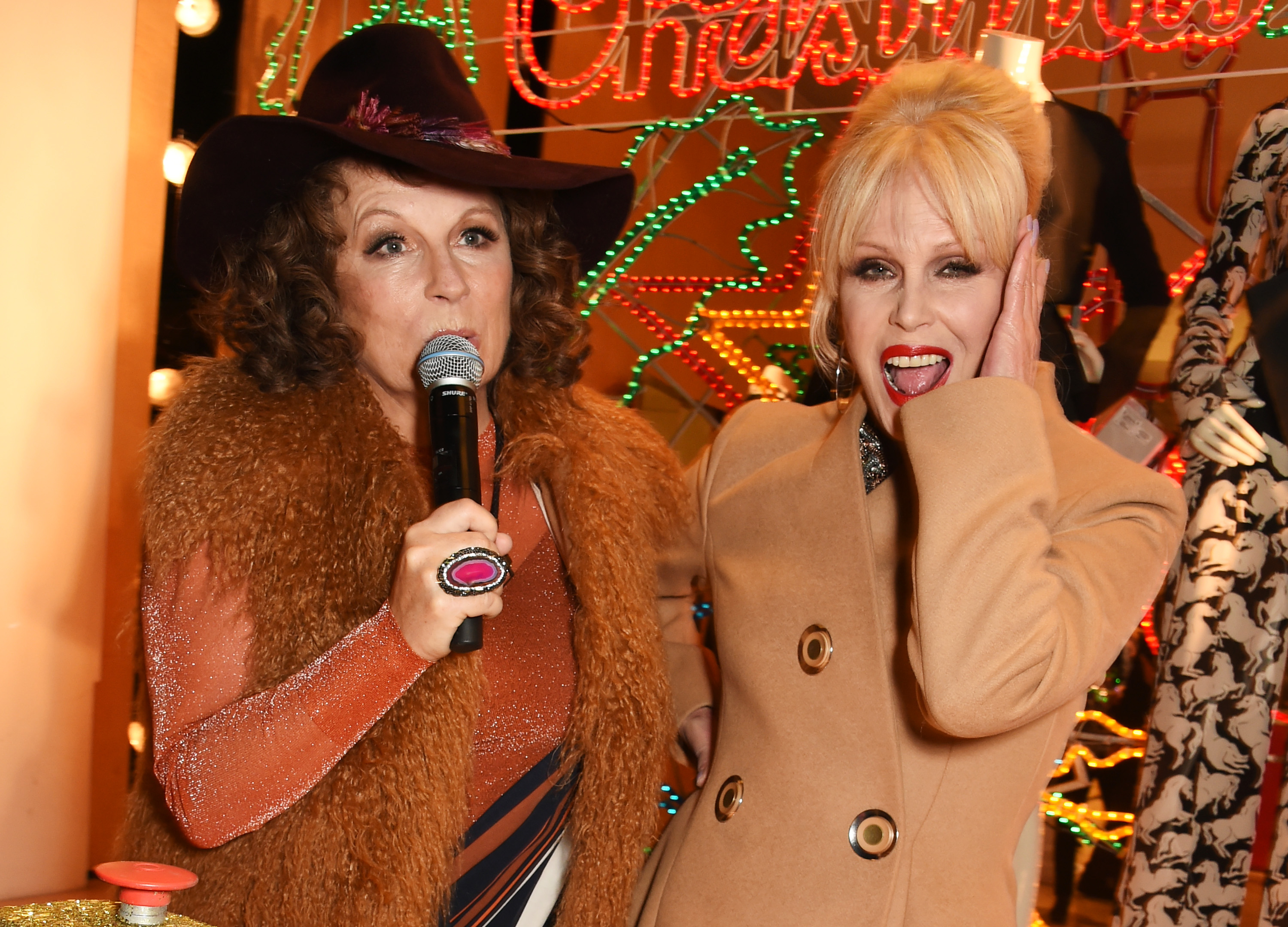 Jennifer Saunders (L) and Joanna Lumley as Edina Monsoon and Patsy Stone from 'Absolutely Fabulous' attend the Stella McCartney Christmas Lights switch on, Nov. 25, 2015 in London, England