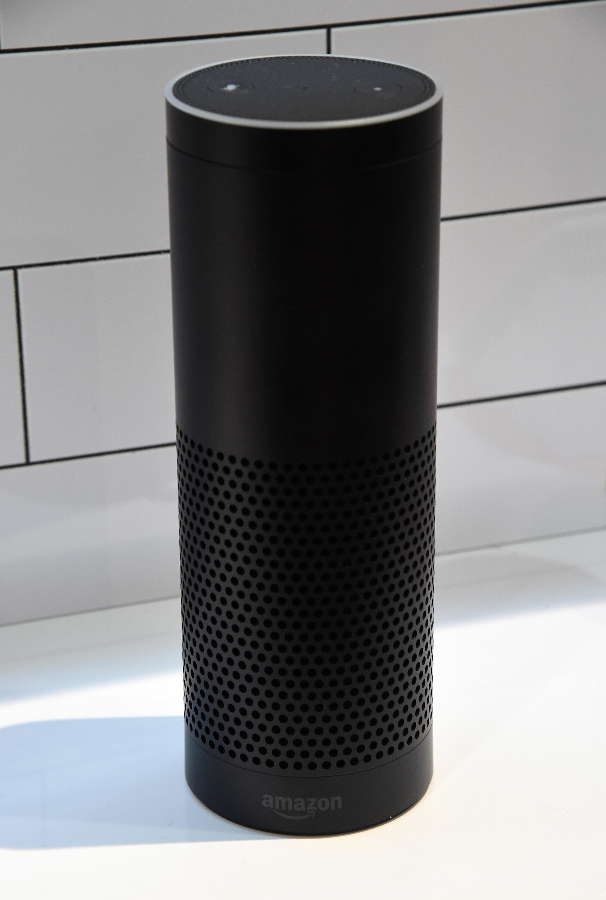The Amazon Echo is displayed at the Vivint booth at CES 2016 at the Sands Expo and Convention Center on January 7, 2016 in Las Vegas, Nevada.