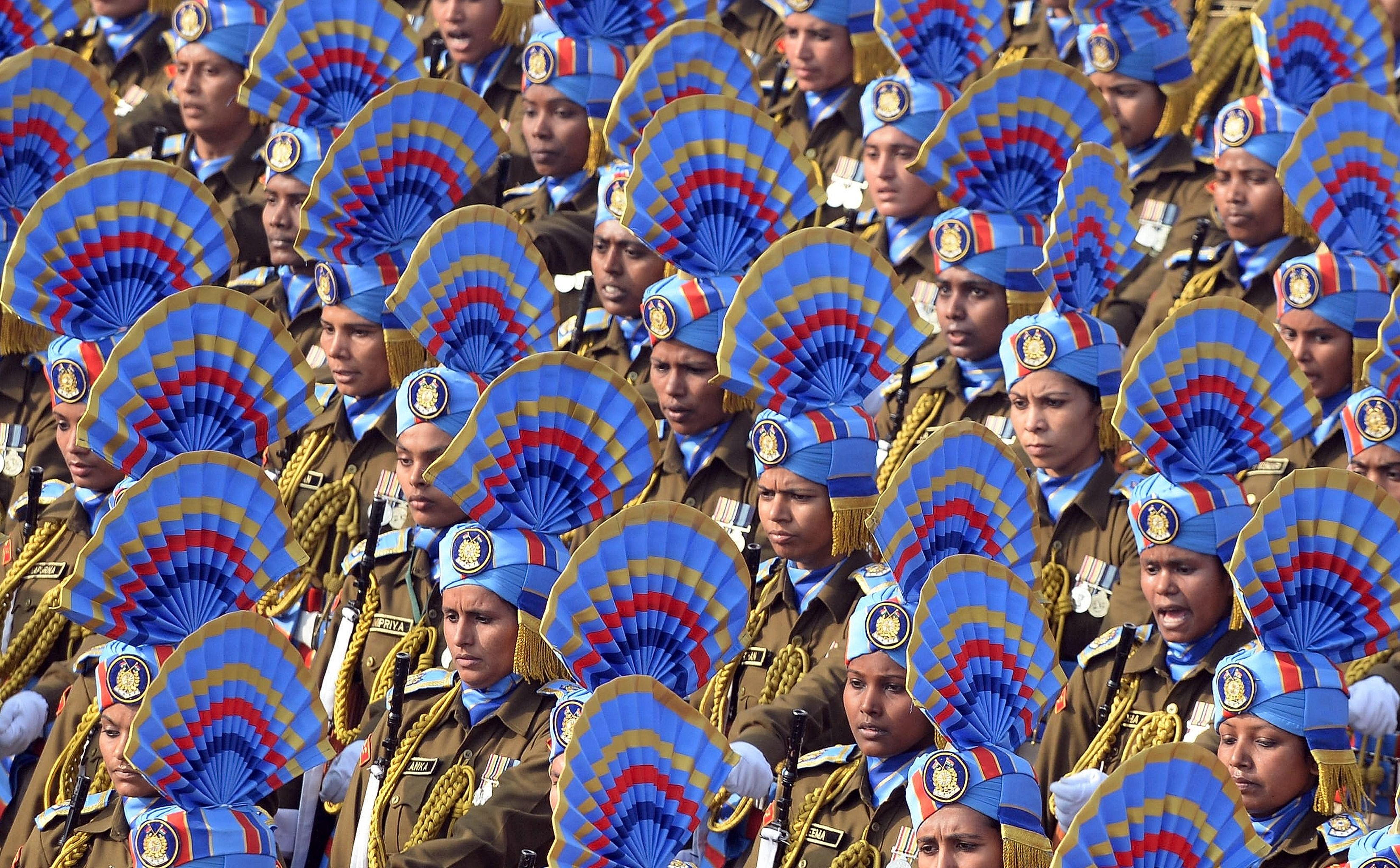 The Indian army women's contingent take part in the full dress rehearsal for the upcoming Indian Republic Day parade on Rajpath in New Delhi on Jan. 23, 2016