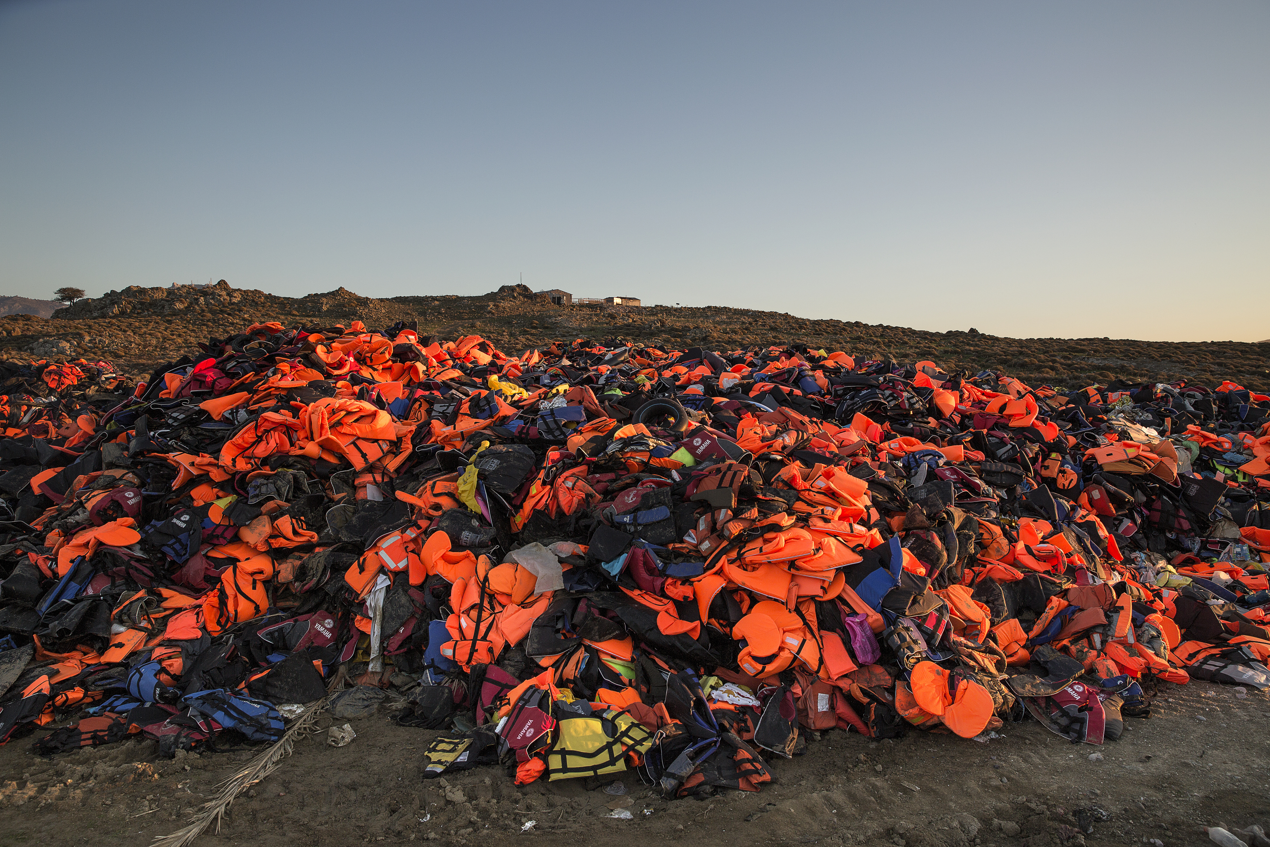 Lifejackets are seen  taking over a garbage dump in Molyvos, Lesbos on Nov. 12, 2015