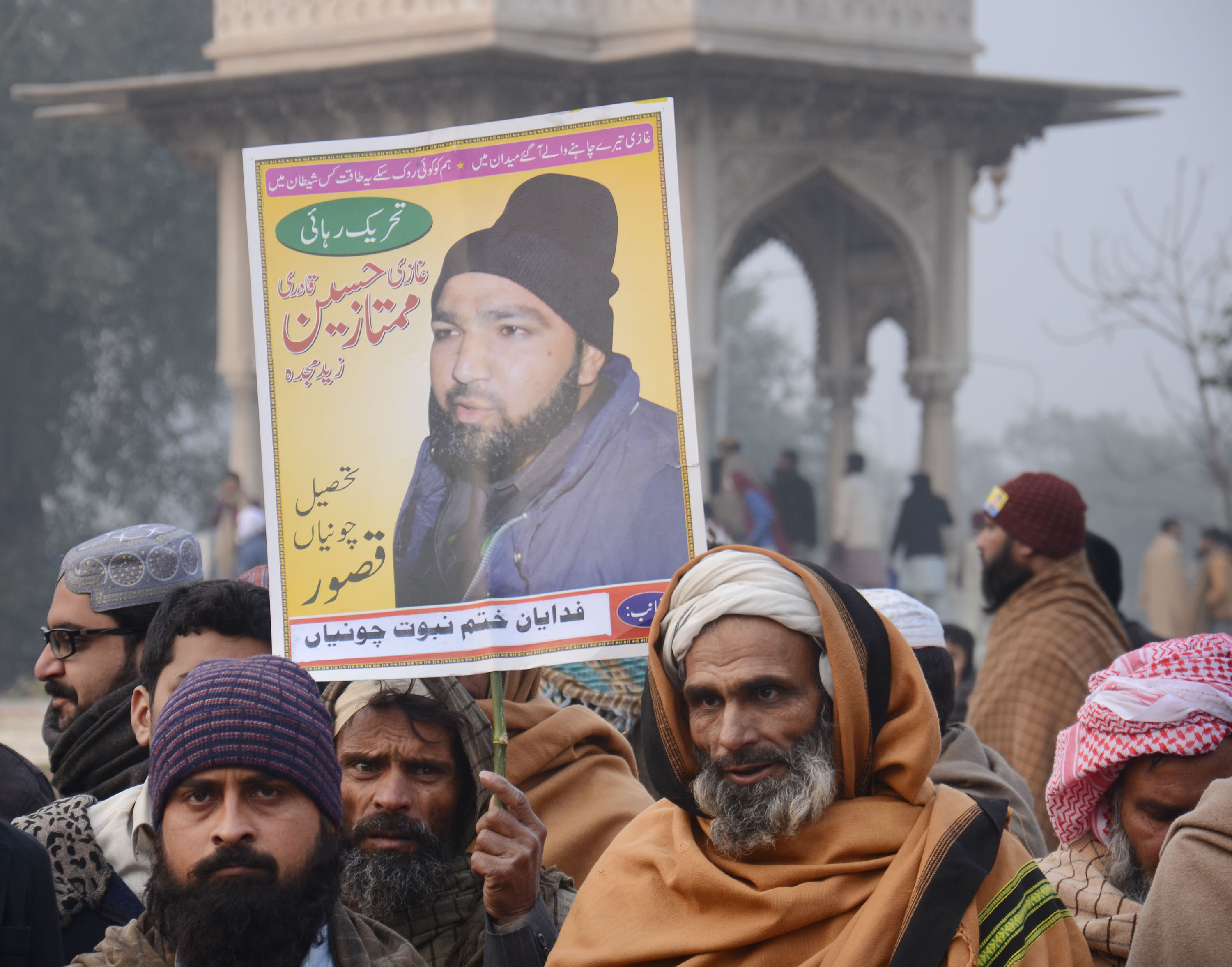 Activists from Pakistani religious groups chant slogans against the execution of Mumtaz Qadri during a rally in Lahore on Jan. 25, 2016