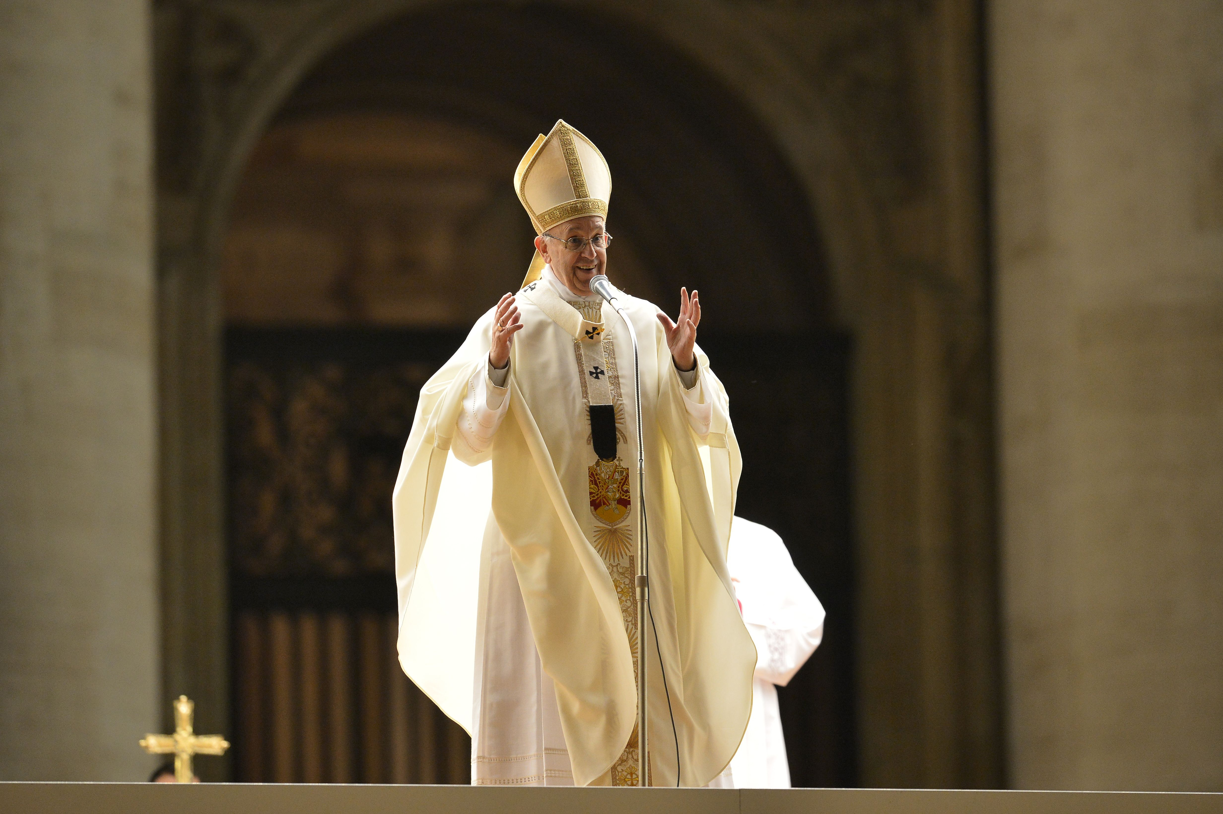 Pope Francis addresses the crowd on St Peter's square after a mass in St Peter's basilica, on Feb. 2, 2016, in the Vatican