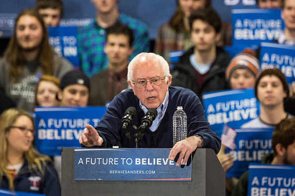 Democratic presidential candidate Sen. Bernie Sanders (D-VT) speaks at a campaign rally on February 6, 2016 in Rindge, New Hampshire.