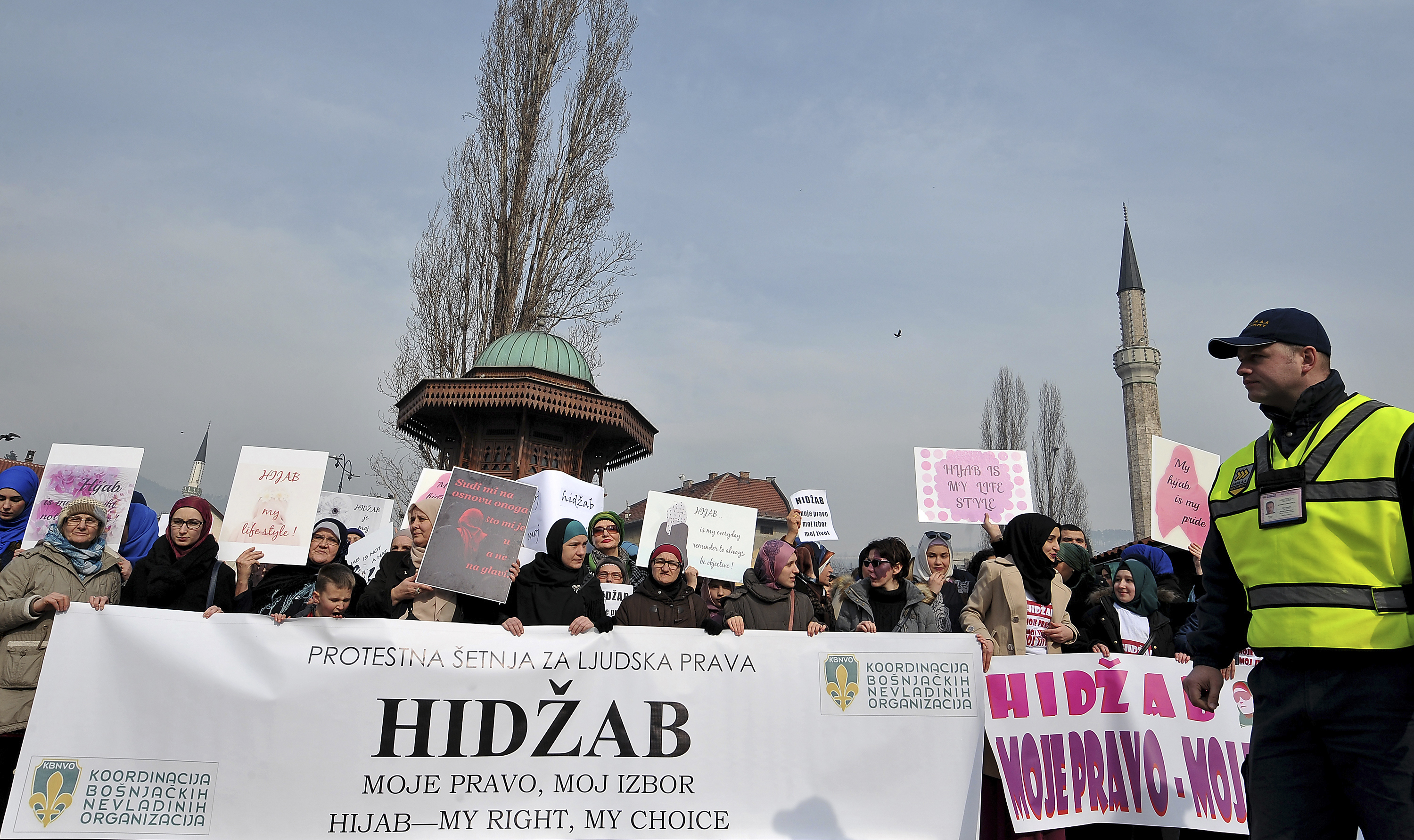 Hundreds of Muslim women wearing the traditional Muslim headscarf also known as hijab protest in Sarajevo's historical center, on February 7, 2016.