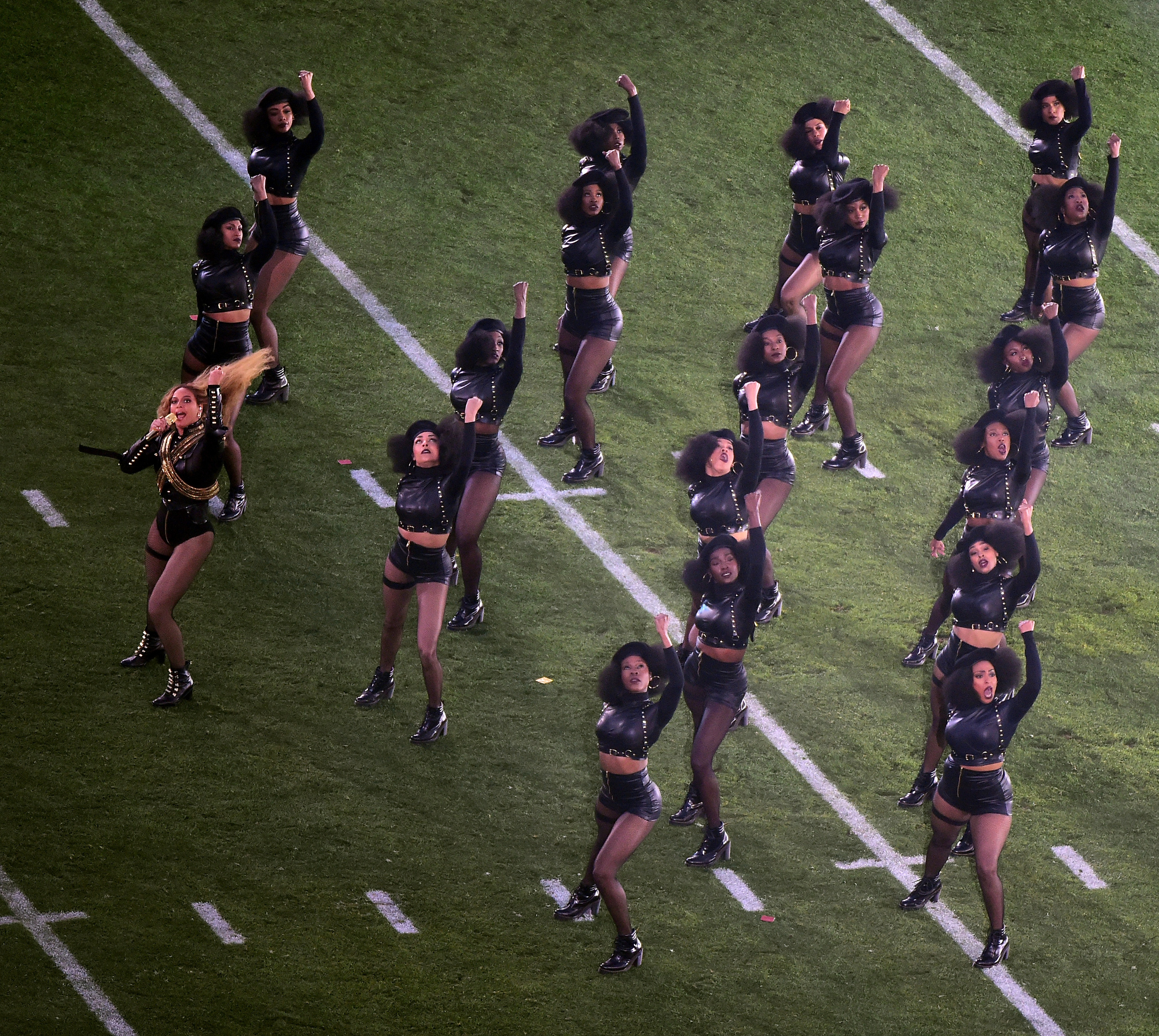 Beyonce and her dancers perform during the Super Bowl 50 halftime show at Levi's Stadium on Feb. 7, 2016, in Santa Clara, California.