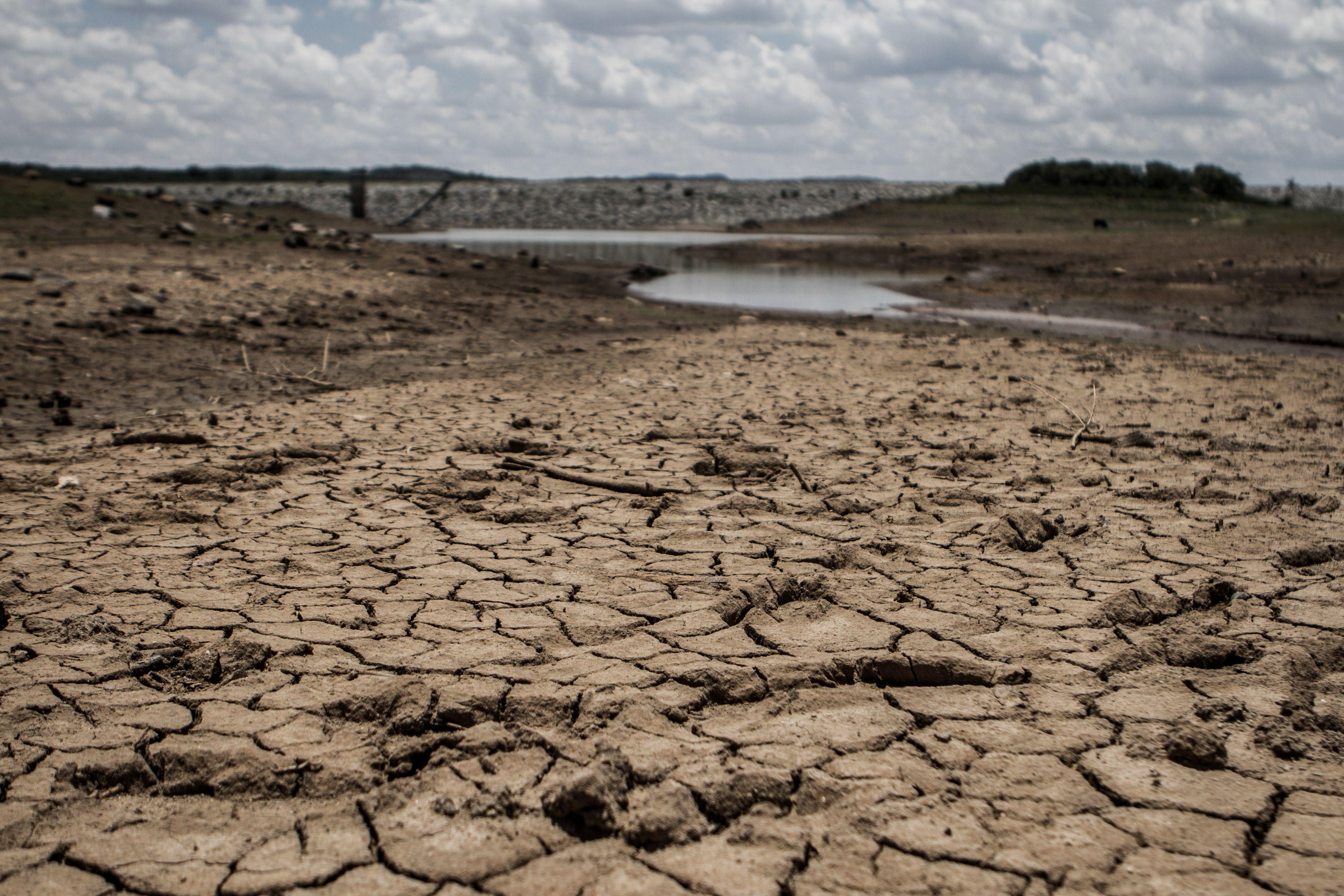 The fast drying catchment area of the Umzingwani dam in Matabeleland,  Southwestern Zimbabwe, Feb. 7, 2016