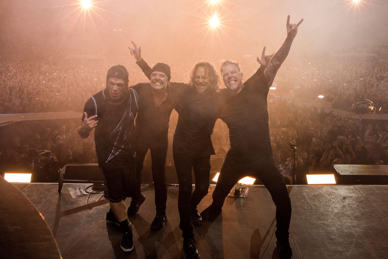 (L to R) Robert Trujillo, Lars Ulrich, Kirk Hammett and James Hetfield of Metallica performing The Night Before at AT&T Park on Feb. 6, 2016 in San Francisco, Calif.