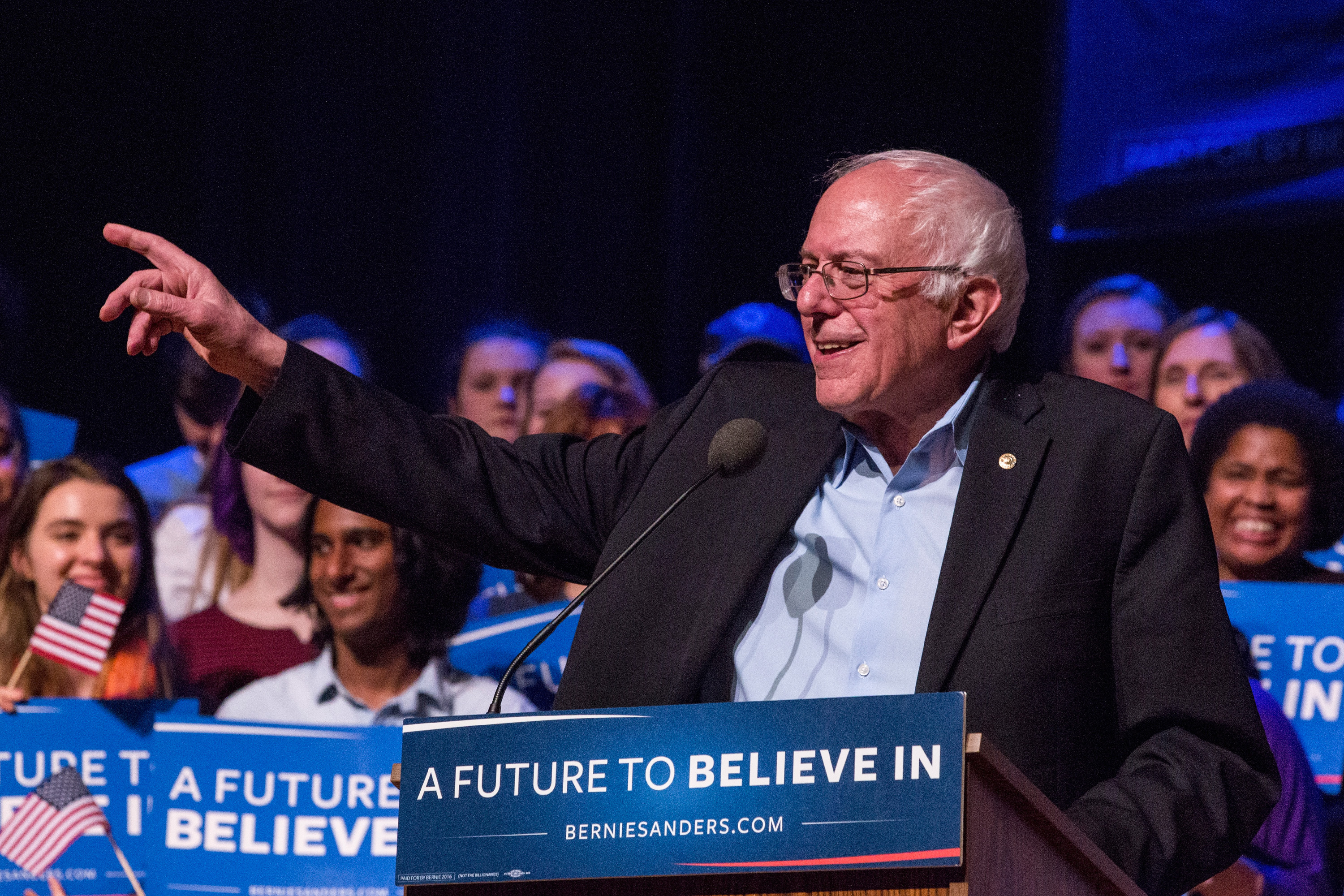 Democratic presidential hopeful, Sen. Bernie Sanders (D-VT) speaks at a campaign rally at the Pinkerton Academy Stockbridge Theatre on February 8, 2016 in Derry, New Hampshire.