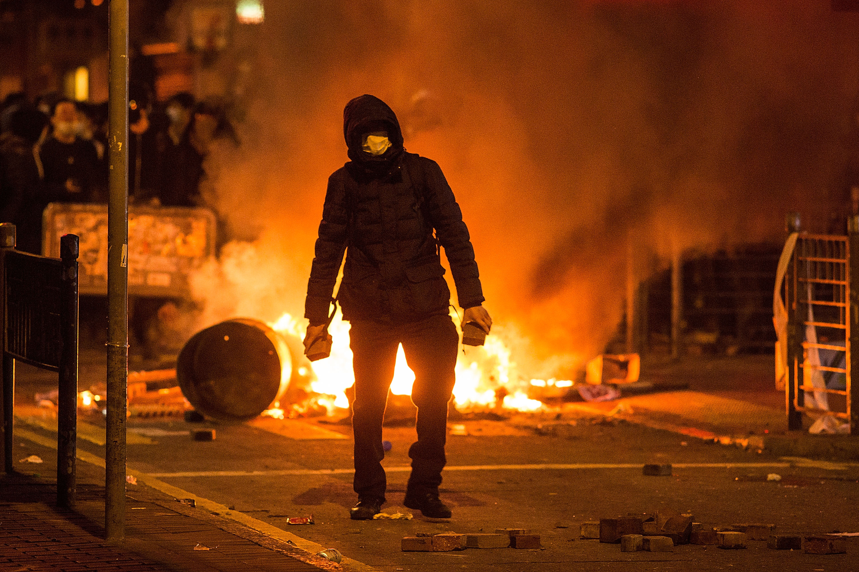 Rioters set fires in Mong Kok district of Hong Kong on Feb. 9, 2016
