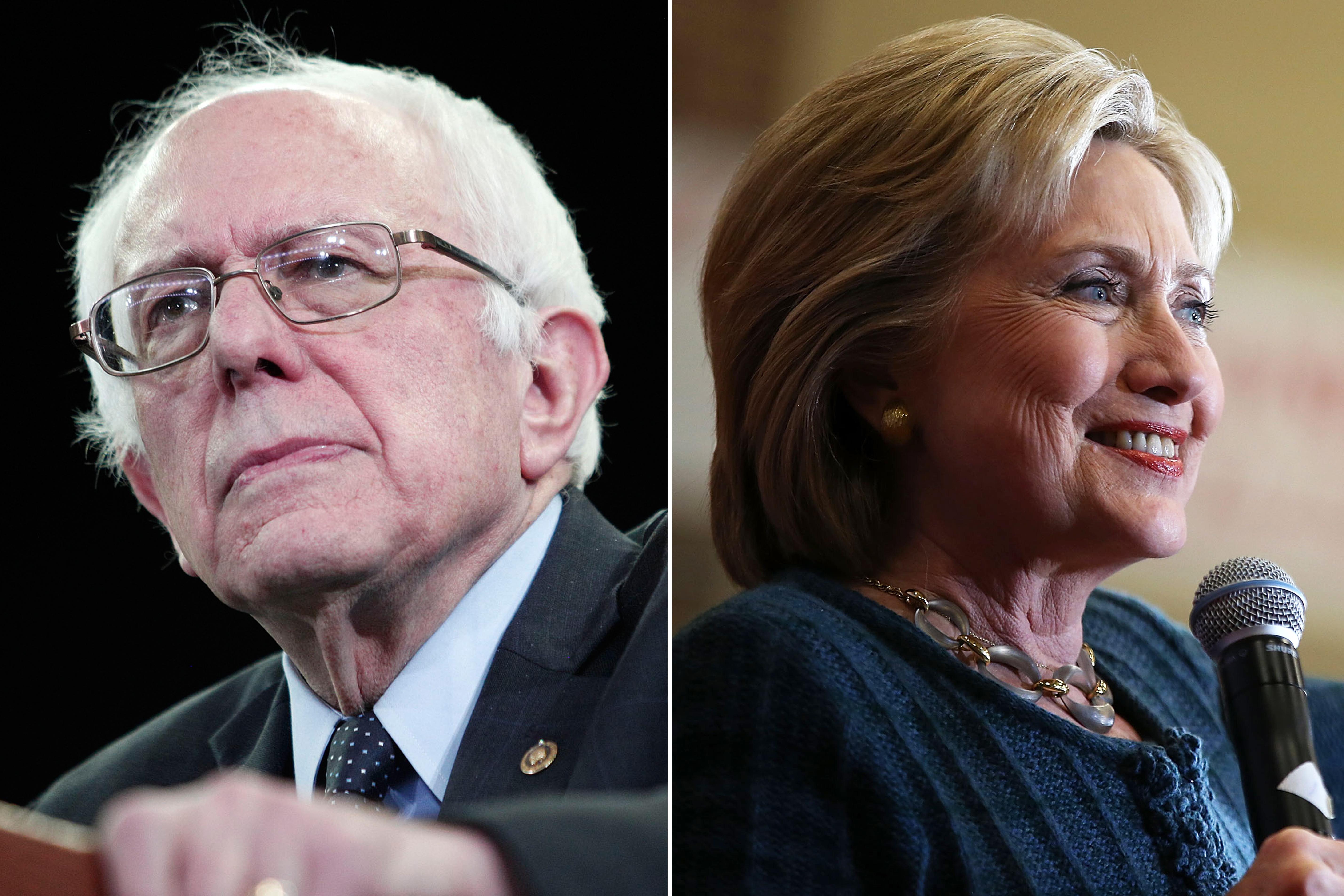 Bernie Sanders on Feb. 15th, 2016 in Ypsilanti, Michigan (L); Hillary Clinton on Jan. 26, 2016 in Marshalltown, Iowa.