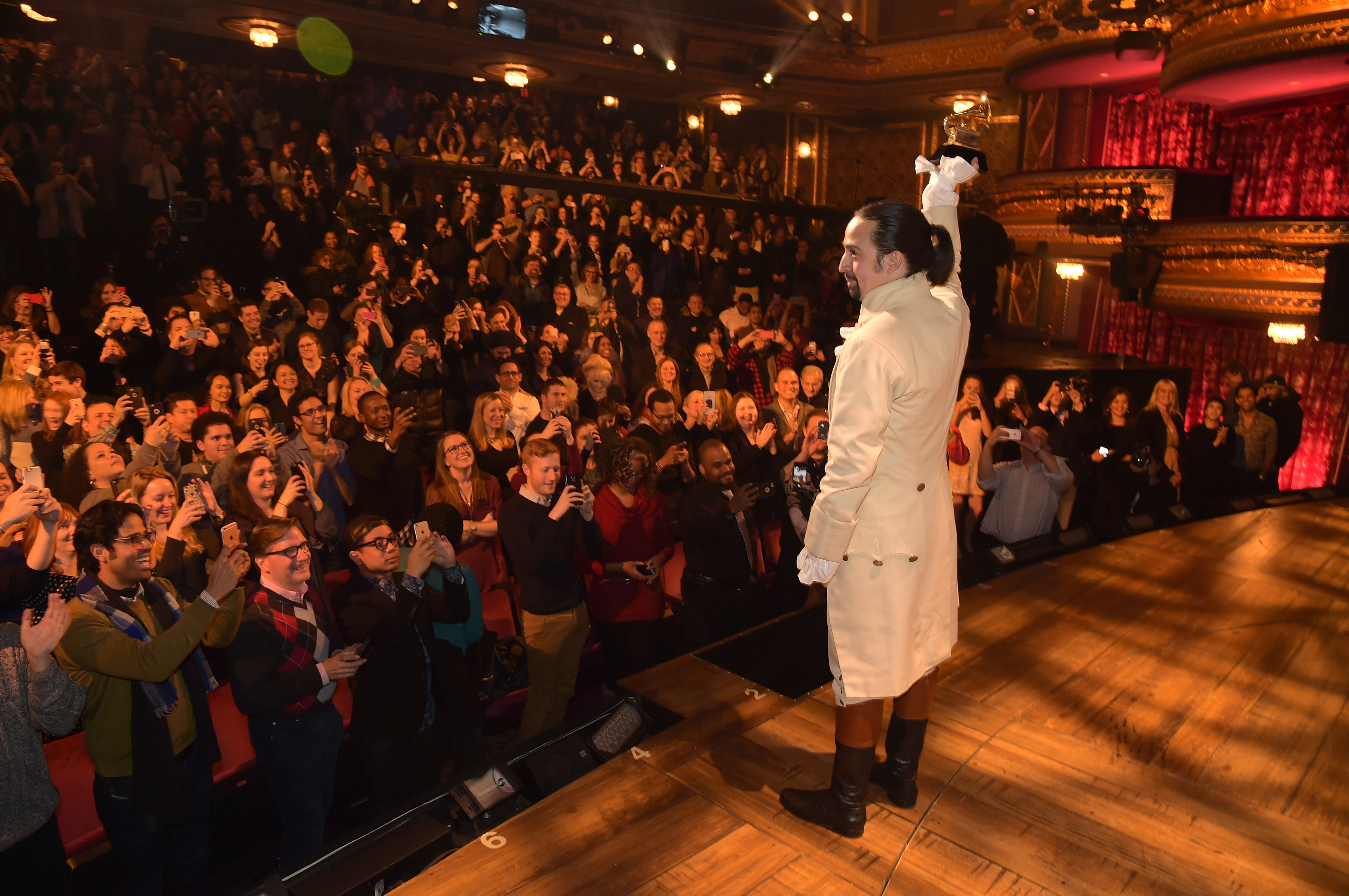 Composer, actor Lin-Manuel Miranda celebrates receiving GRAMMY award during  Hamilton  GRAMMY performance at Richard Rodgers Theater on February 15, 2016 in New York City.