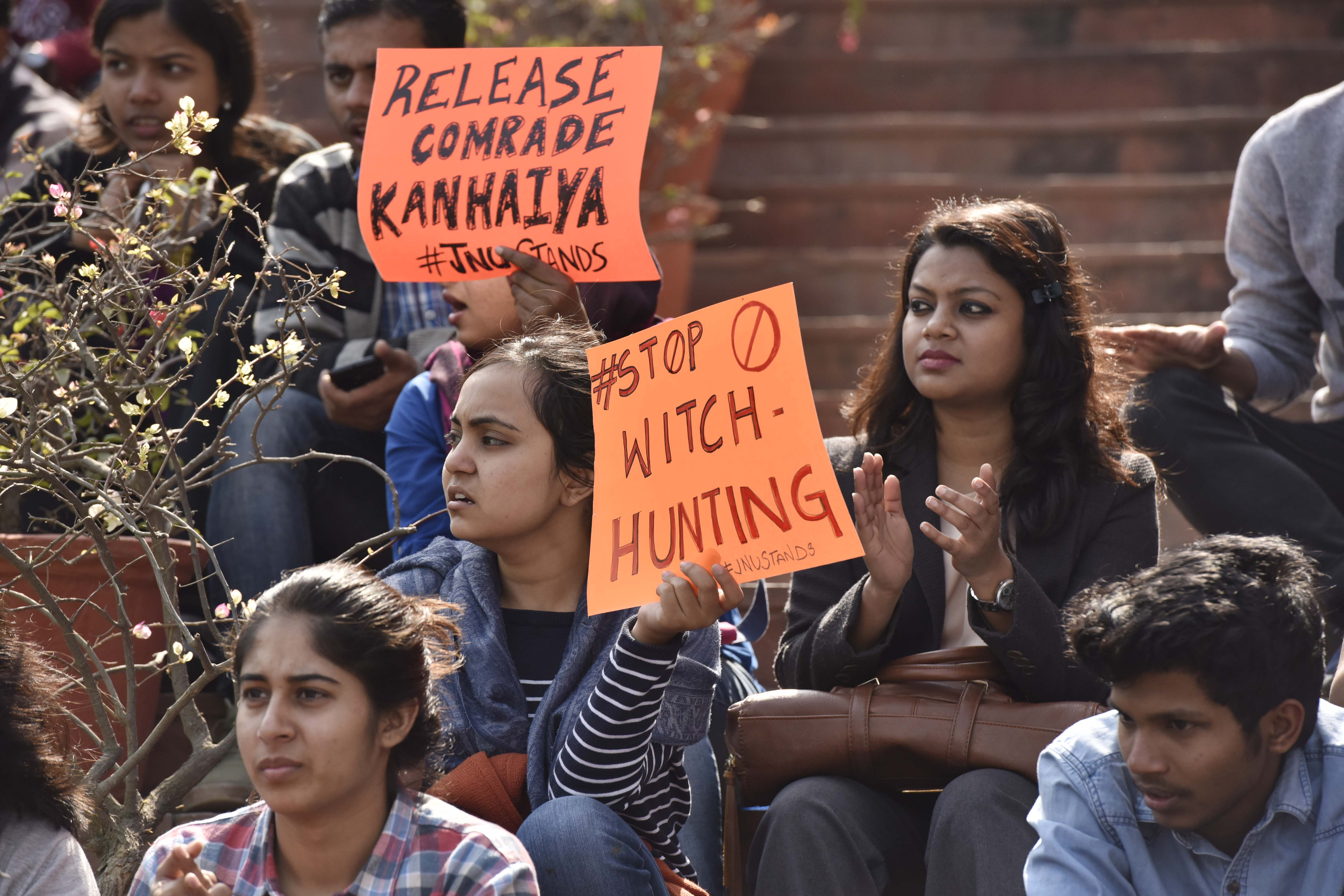 JNU students protest march against Central Government at JNU campus, demand the release of Kanhaiya Kumar on Feb. 16, 2016 in New Delhi, India.