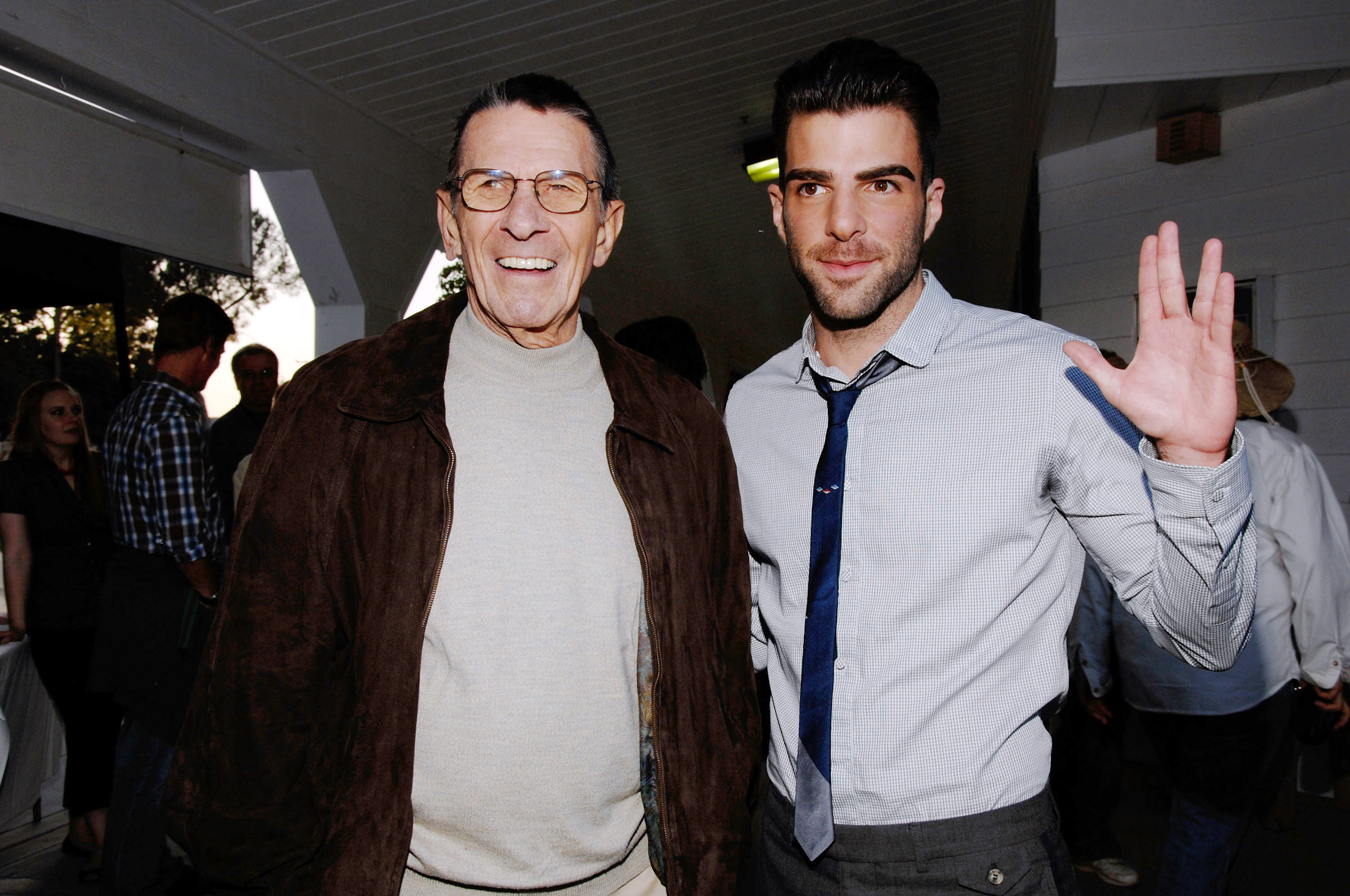 Actors Leonard Nimoy (L) and Zachary Quinto (R) attend the 19th Annual  Hollywood Charity Horse Show  at the Los Angeles Equestrian Center on April 25, 2009 in Burbank, California.