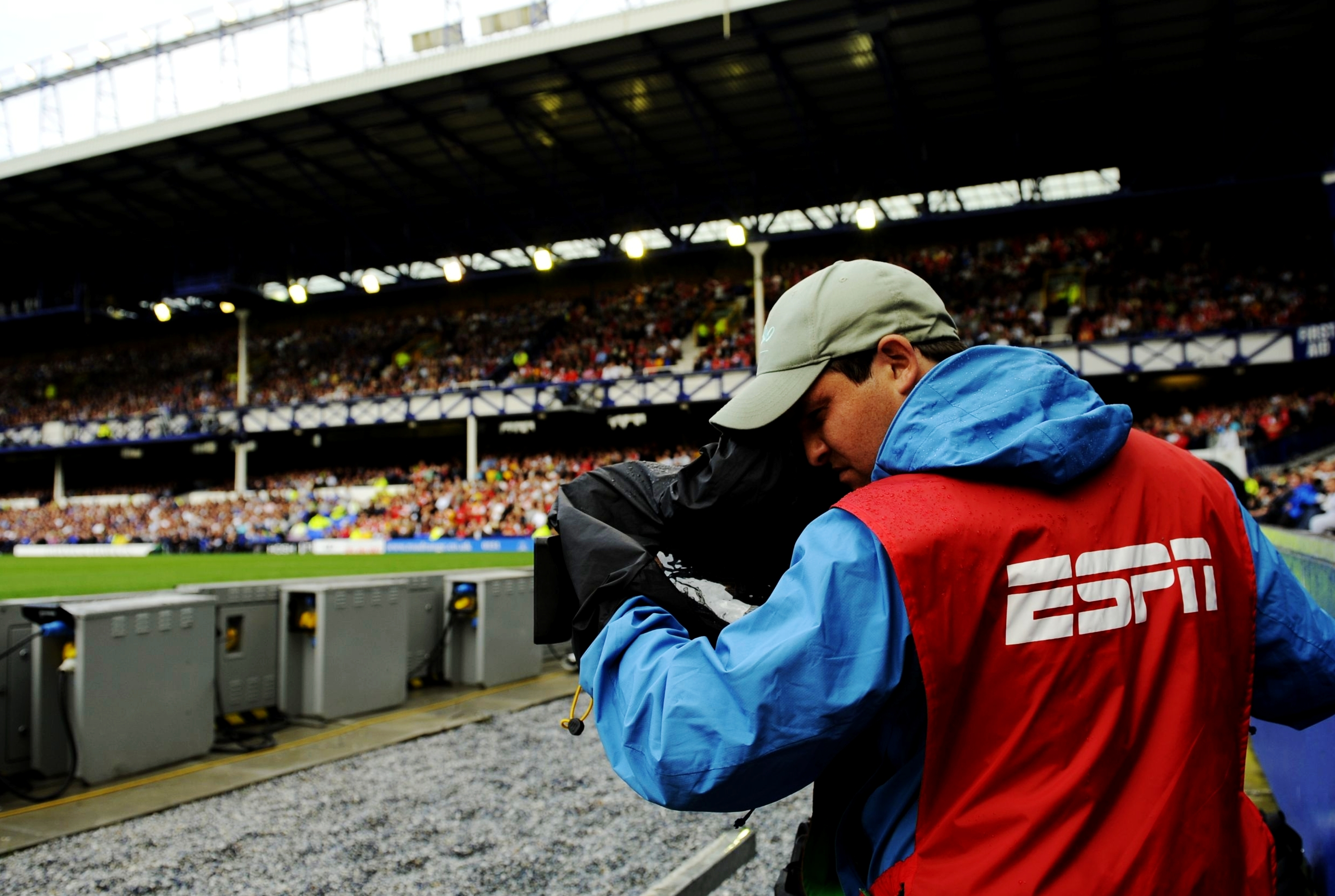 An ESPN cameraman covers the action during the Barclays Premier League match between Everton and Arsenal at Goodison Park on August 15, 2009 in Liverpool, England.