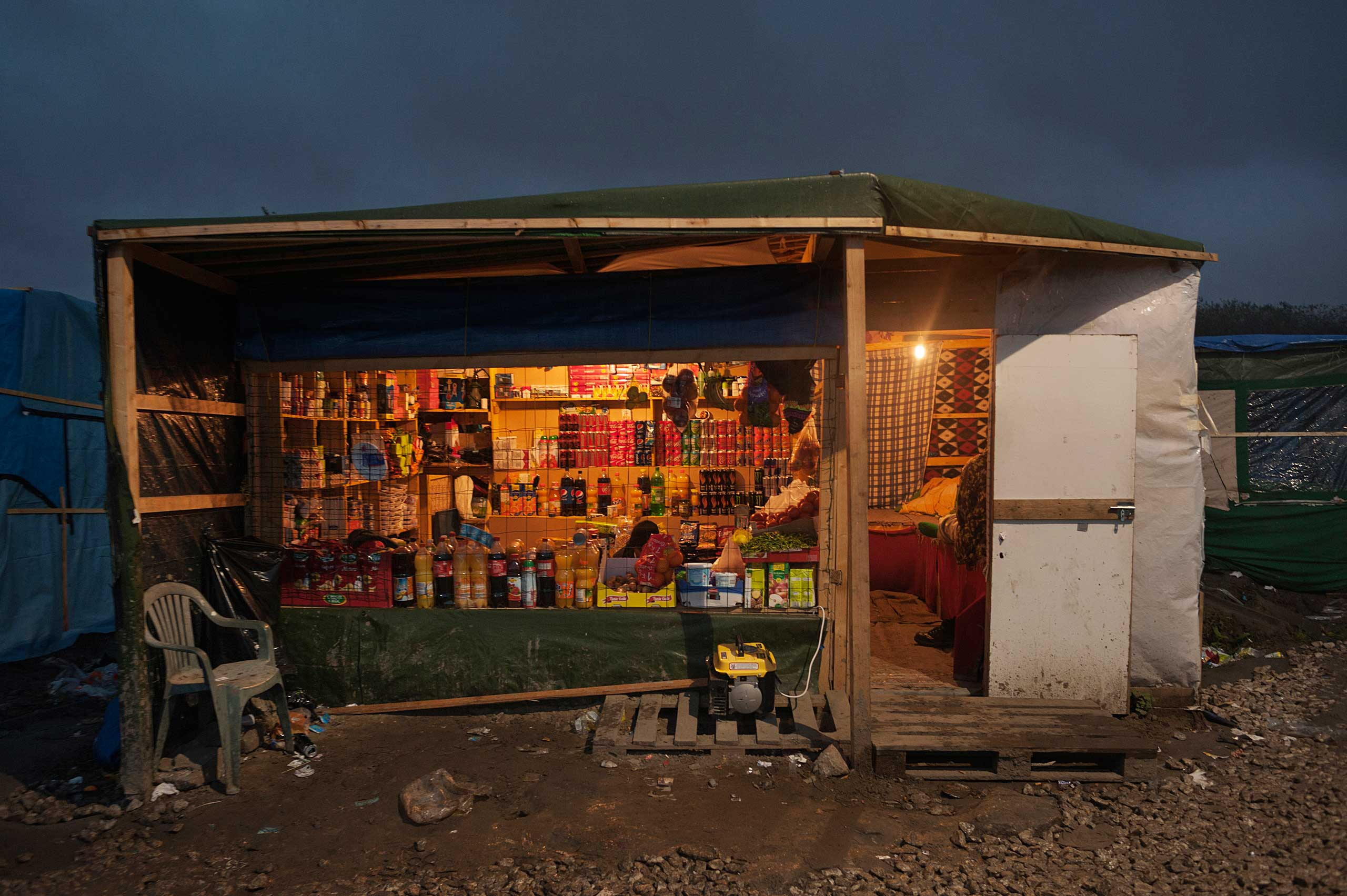 Afghan shop with sofas for the customers in Calais, France on Nov. 4, 2015.
