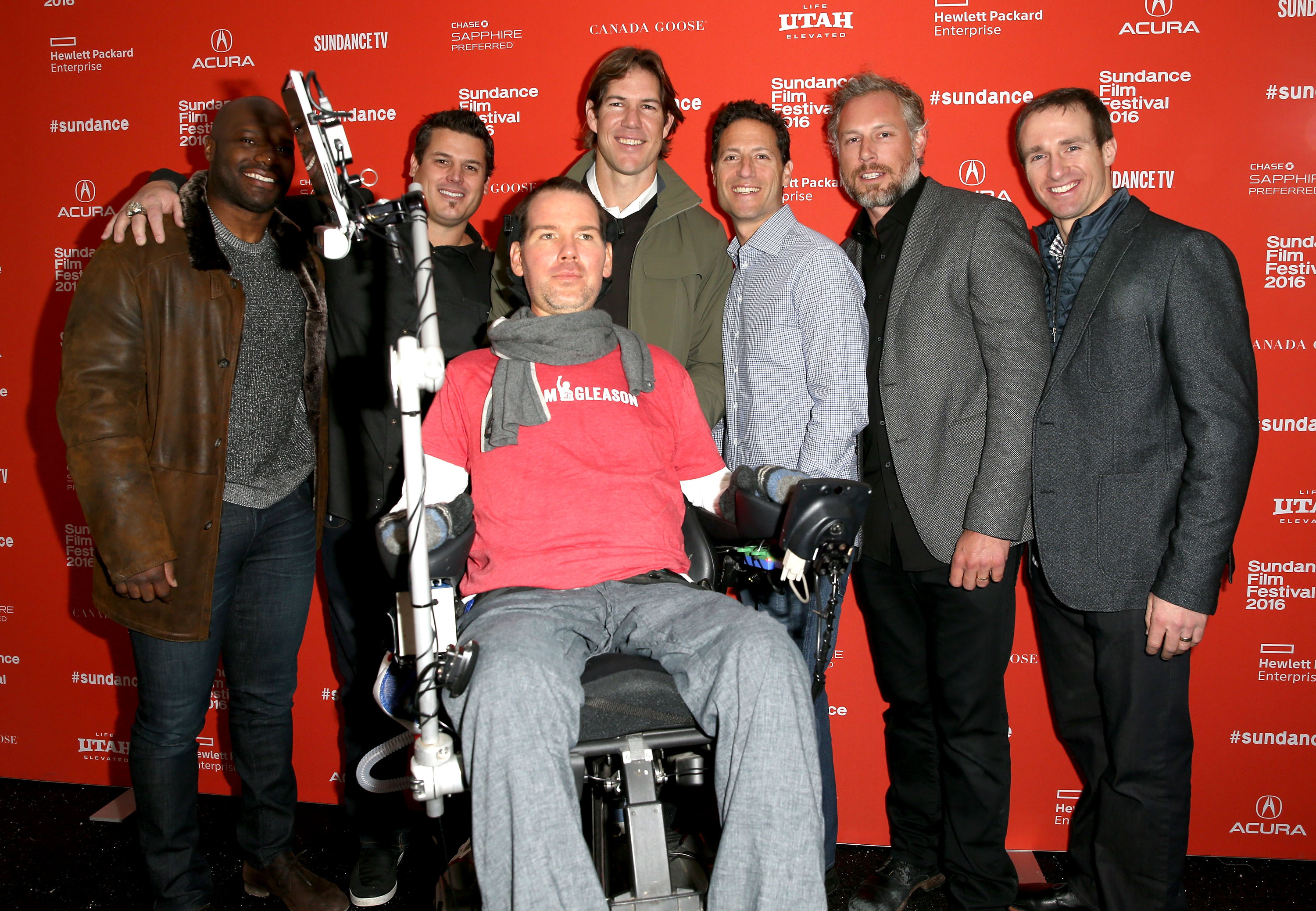 NFL player D'Qwell Jackson, former NFL player Lonie Paxton, film subject Steve Gleason, producer Scott Fujita, Chief Content Officer for IMG Mark Shapiro, former NFL player Eric Johnson, and NFL quarterback Drew Brees attend the  Gleason  Premiere during the 2016 Sundance Film Festival on January 23, 2016 in Park City, Utah.