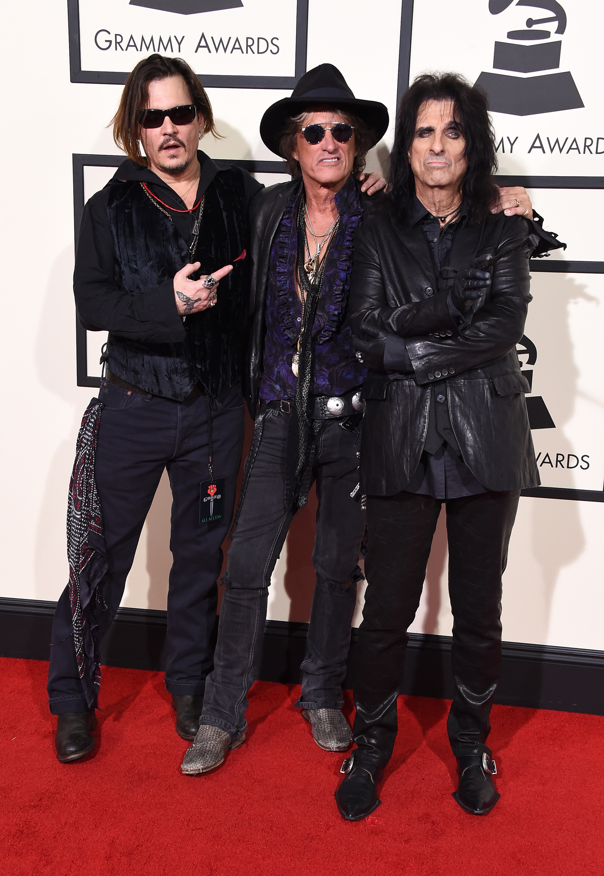From left: Johnny Depp, Joe Perry and Alice Cooper of The Hollywood Vampires attend the 58th GRAMMY Awards at Staples Center on Feb. 15, 2016 in Los Angeles.