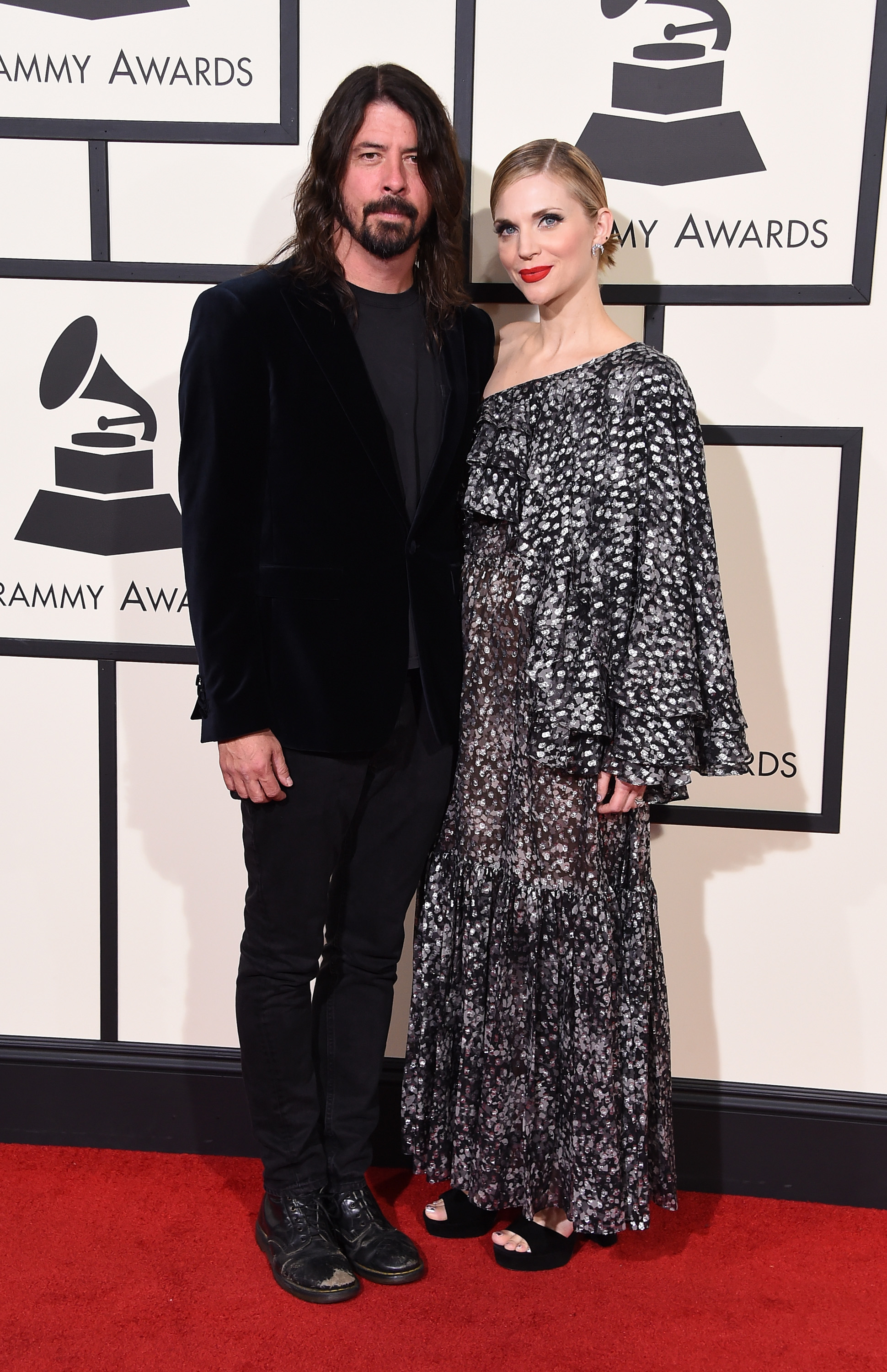 Dave Grohl, left, and Jordyn Blum, right, attend the 58th GRAMMY Awards at Staples Center on Feb. 15, 2016 in Los Angeles.