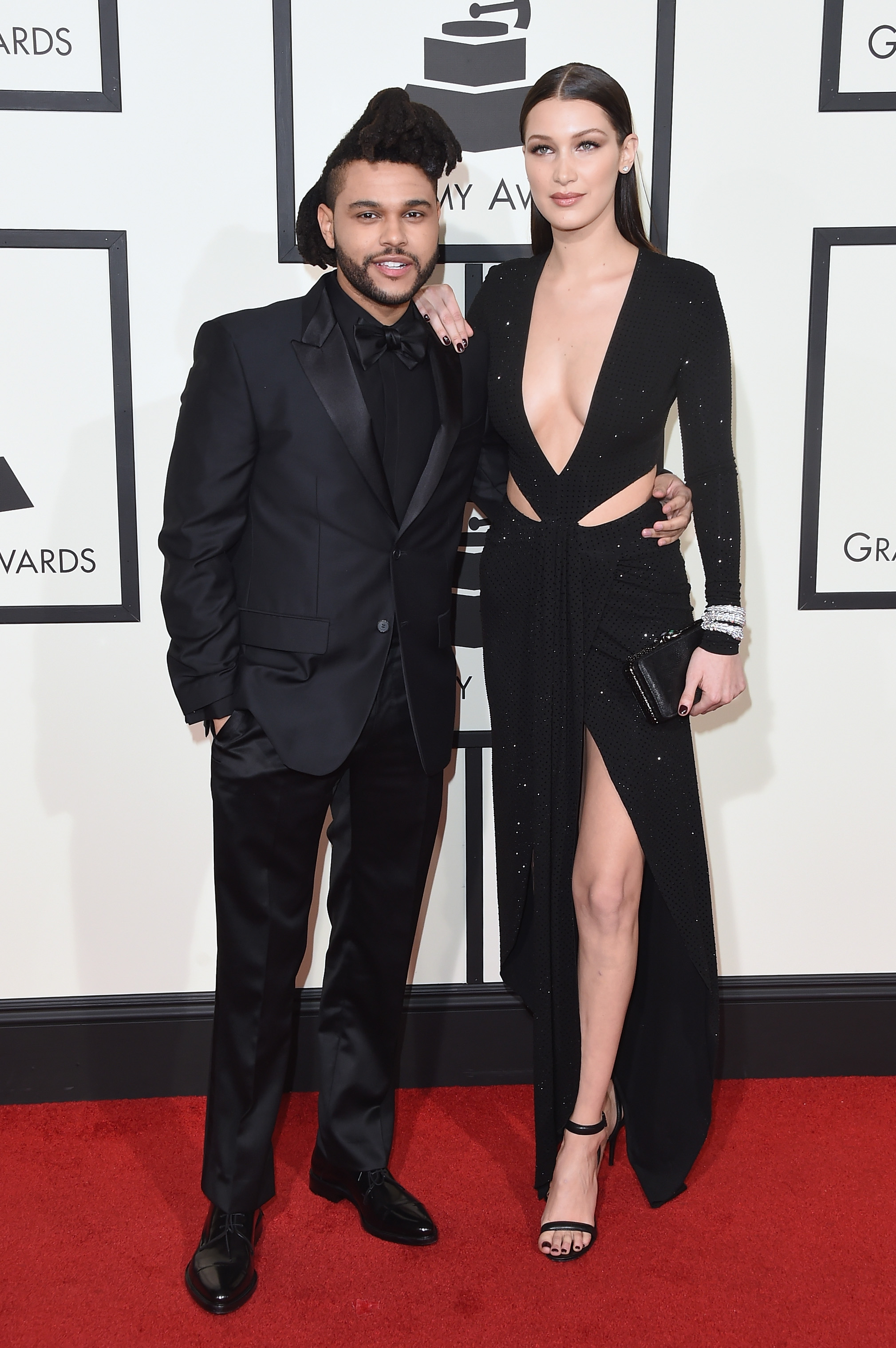 The Weeknd, left, and Bella Hadid, right, attend the 58th GRAMMY Awards at Staples Center on Feb. 15, 2016 in Los Angeles.