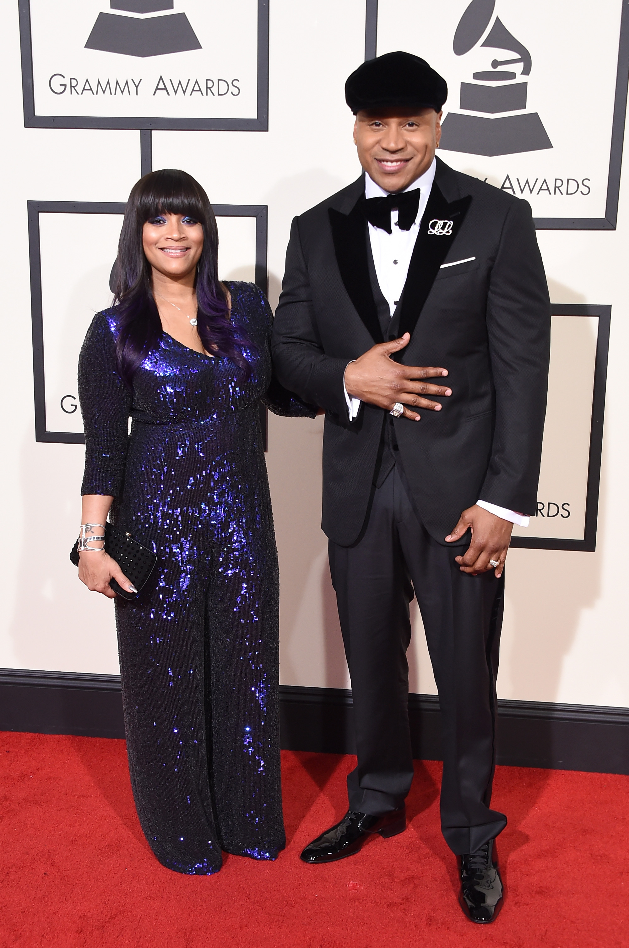 Simone Smith, left, and host LL Cool J, right, attend the 58th GRAMMY Awards at Staples Center on Feb. 15, 2016 in Los Angeles.