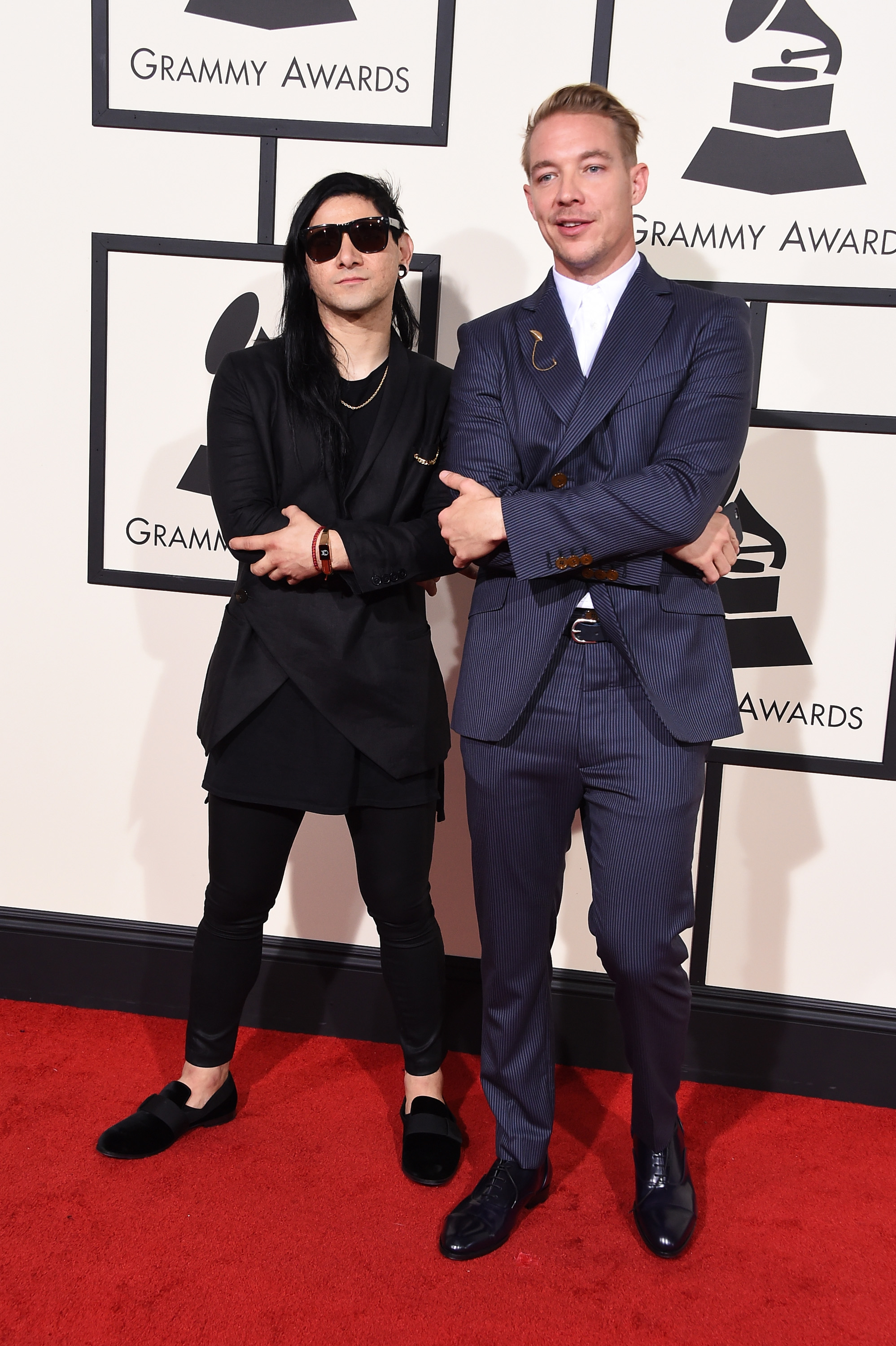 Skrillex, left, and Diplo, right, attend the 58th GRAMMY Awards at Staples Center on Feb. 15, 2016 in Los Angeles.
