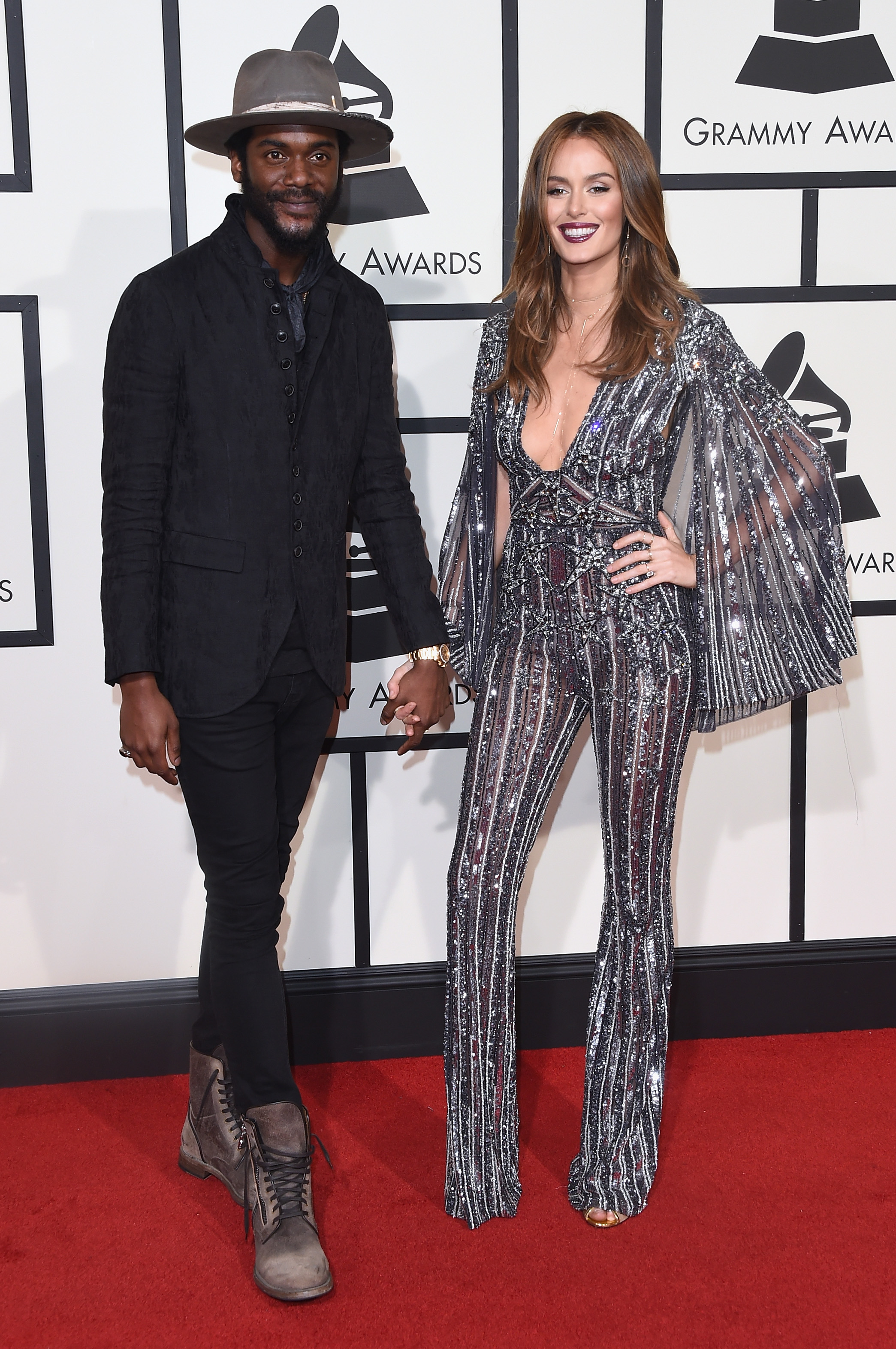 Gary Clark Jr., left, and Nicole Trunfio, right, attend the 58th GRAMMY Awards at Staples Center on Feb. 15, 2016 in Los Angeles.