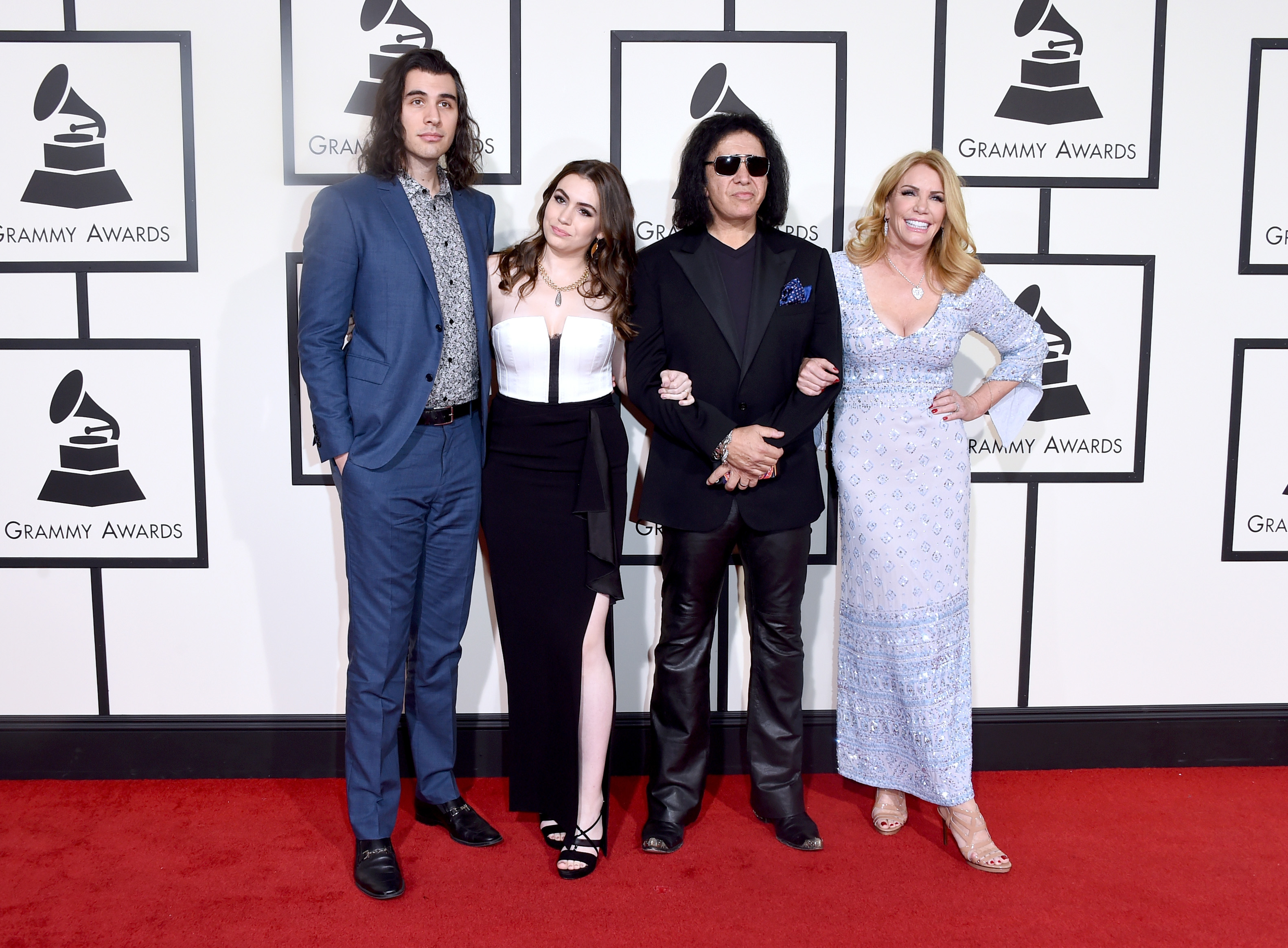 From left: Nick Simmons, Sophie Simmons, Gene Simmons, and Shannon Tweed attend the 58th GRAMMY Awards at Staples Center on Feb. 15, 2016 in Los Angeles.