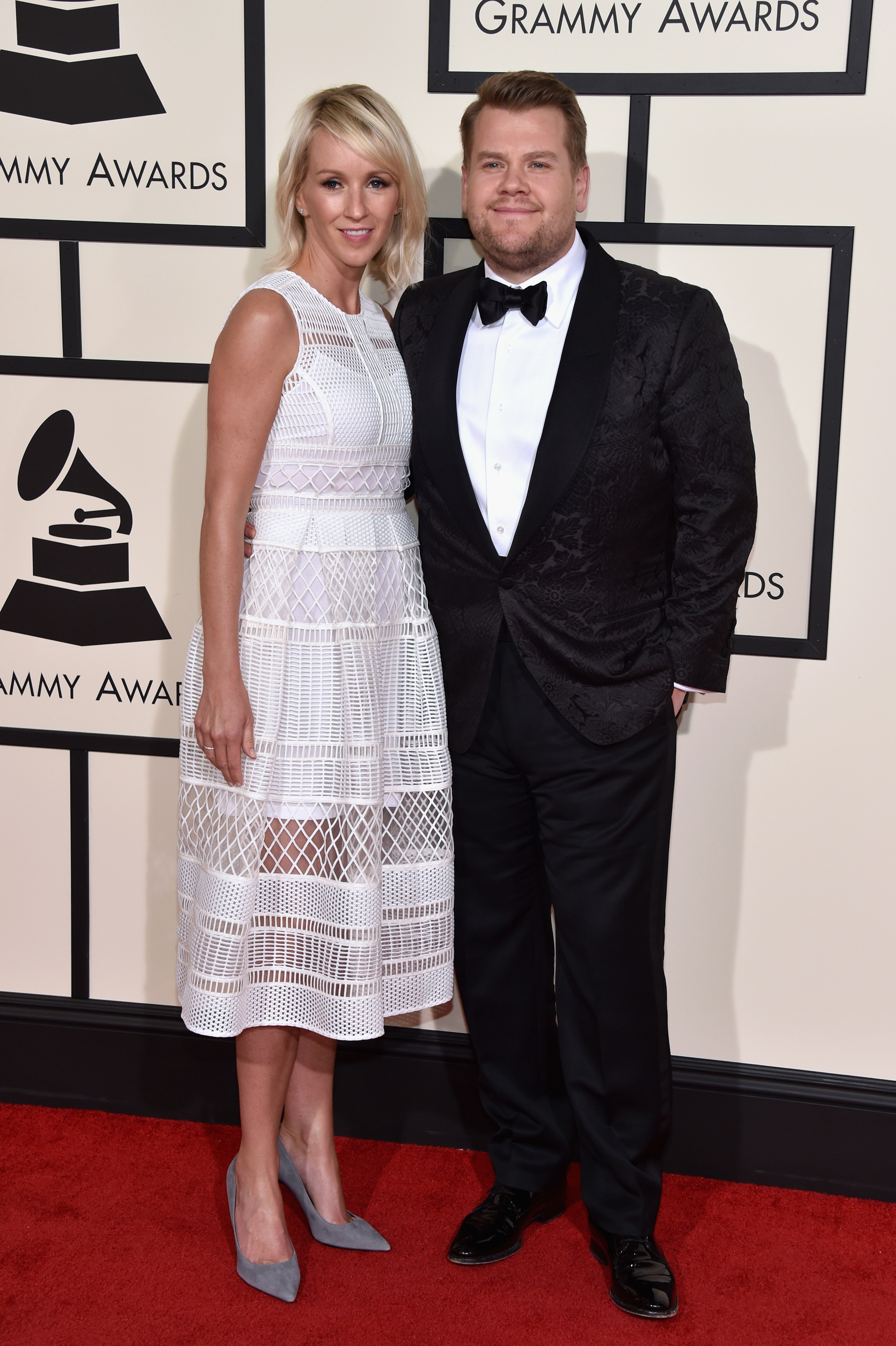 Julia Carey, left, and James Corden, right, attend the 58th GRAMMY Awards at Staples Center on Feb. 15, 2016 in Los Angeles.