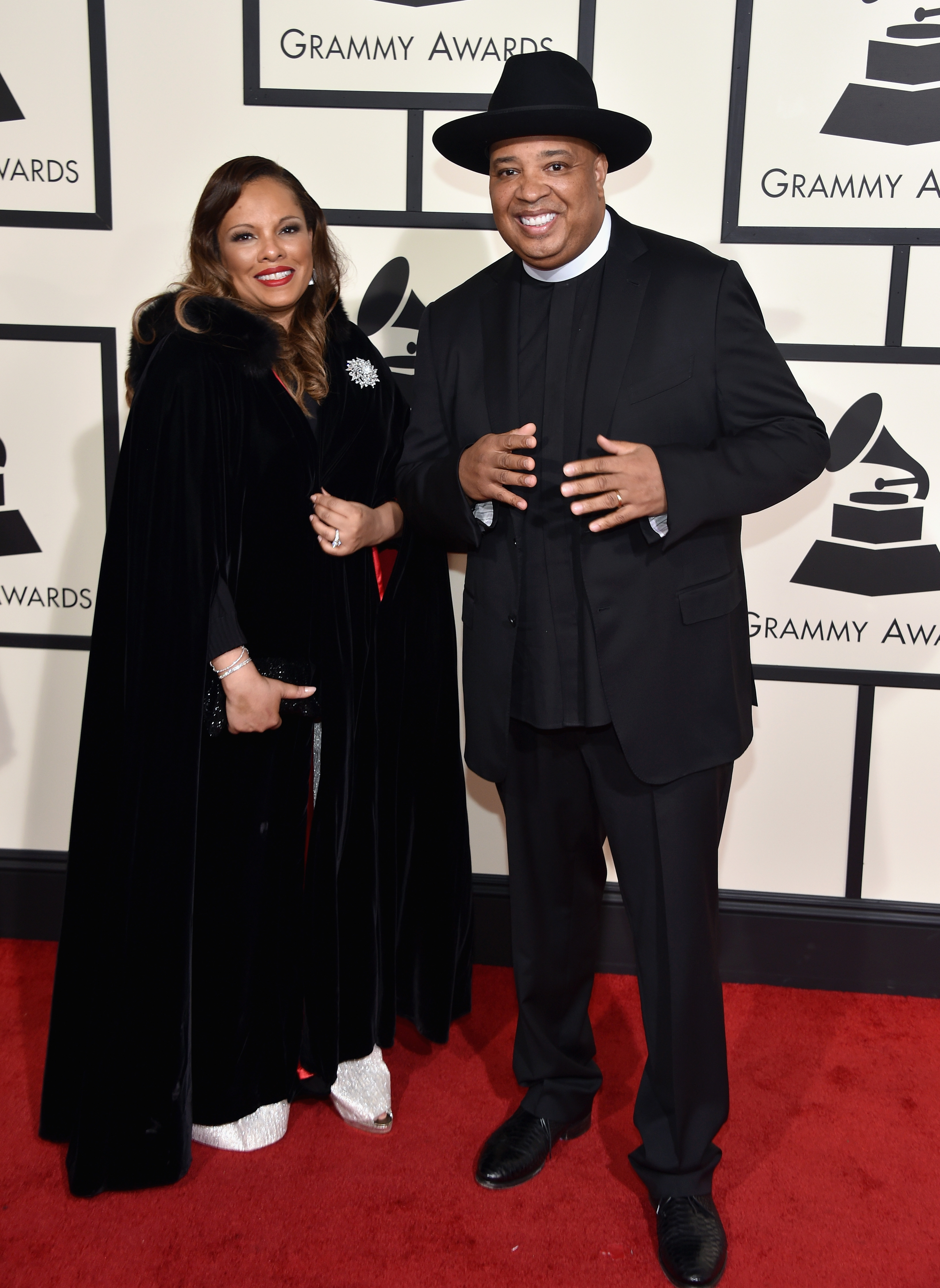 "Justine Simmons, left, and Joseph ""Rev Run,"" right, attend the 58th GRAMMY Awards at Staples Center on Feb. 15, 2016 in Los Angeles."
