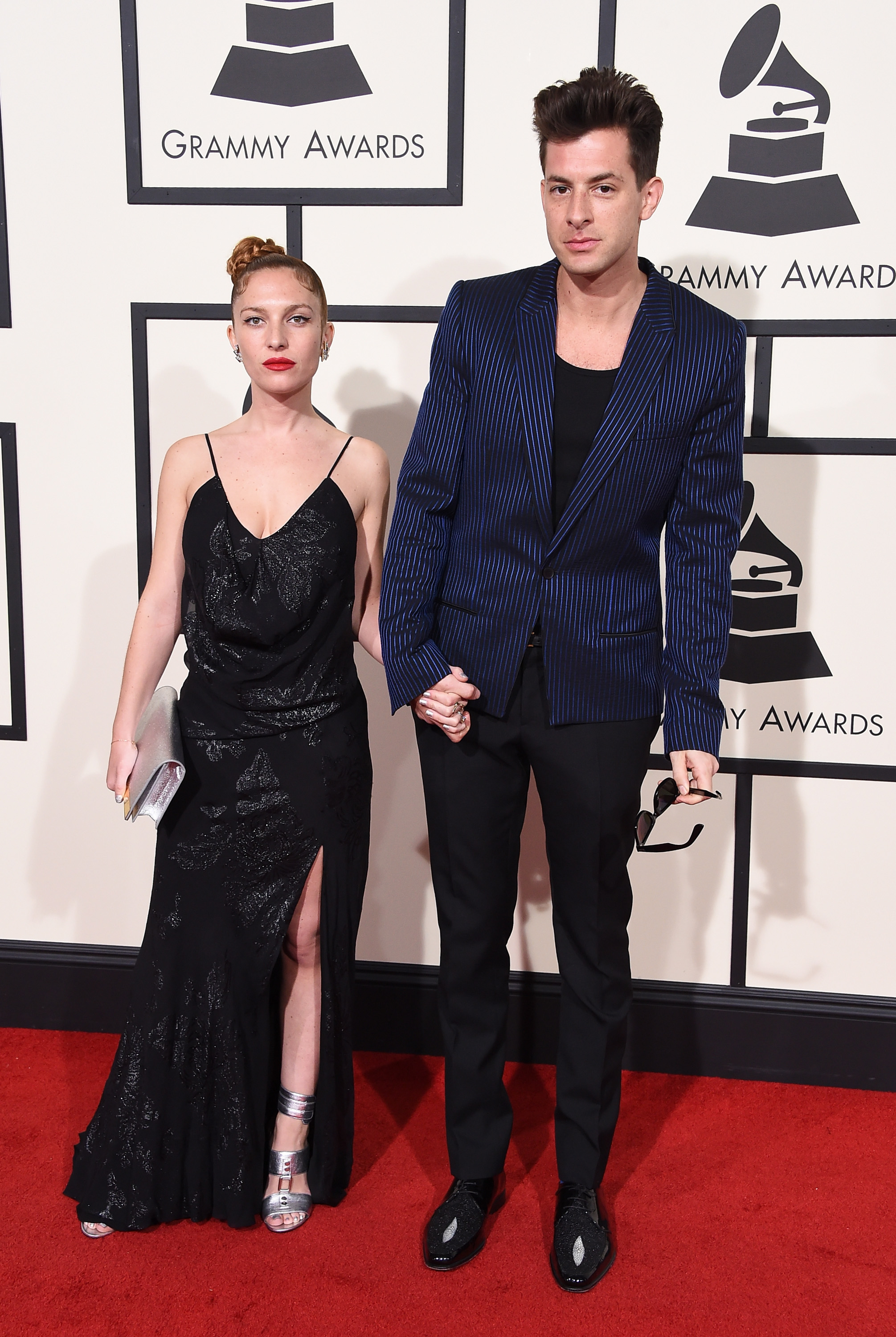 Josephine de la Baume, left, and Mark Ronson, right, attend the 58th GRAMMY Awards at Staples Center on Feb. 15, 2016 in Los Angeles.
