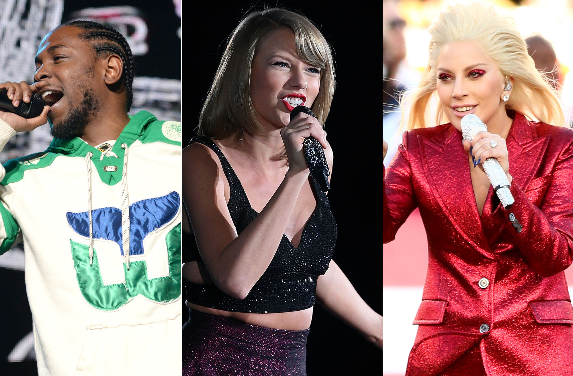 From left: Kendrick Lamar, Taylor Swift, Lady Gaga.