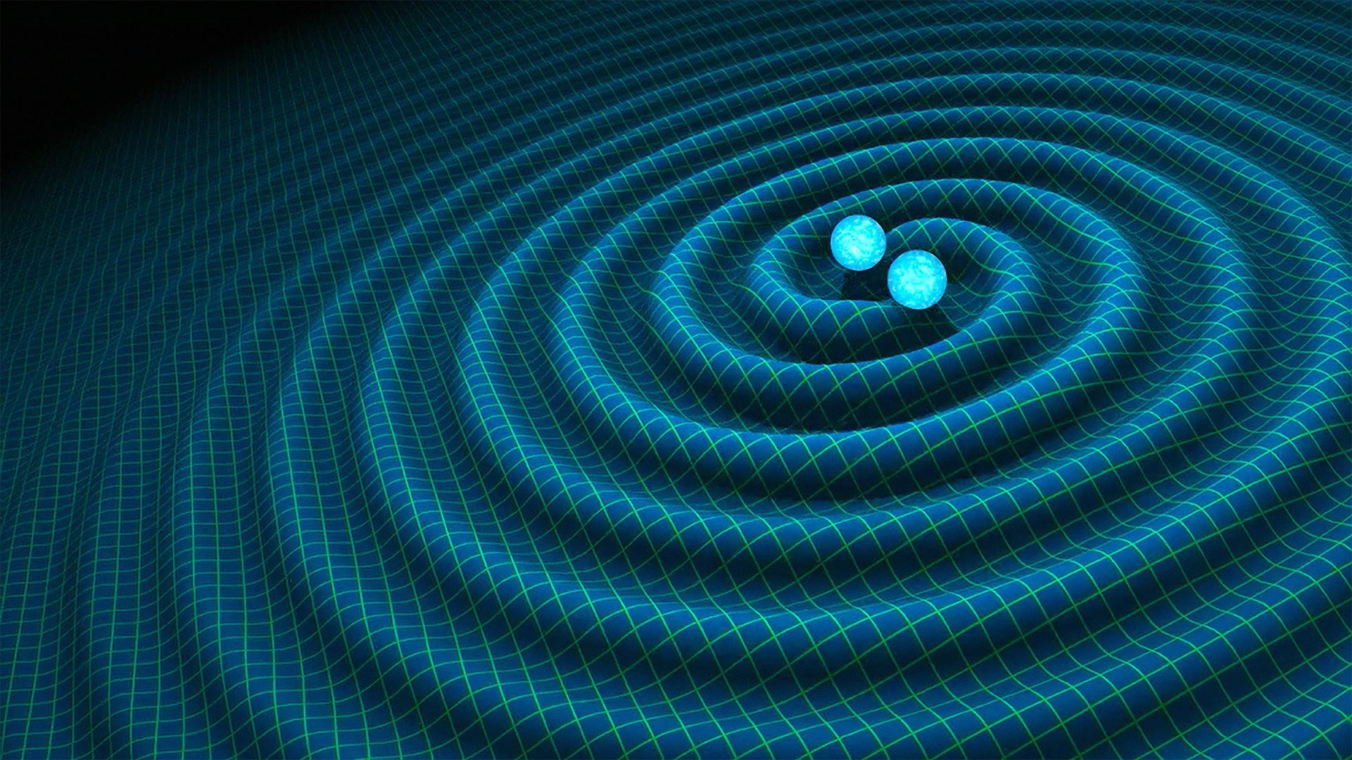An artist's impression of gravitational waves generated by binary neutron stars. US researchers said on Feb. 11 2016 they have detected gravitational waves, which physicist Albert Einstein first described 100 years ago as 'ripples in the fabric of space-time.'