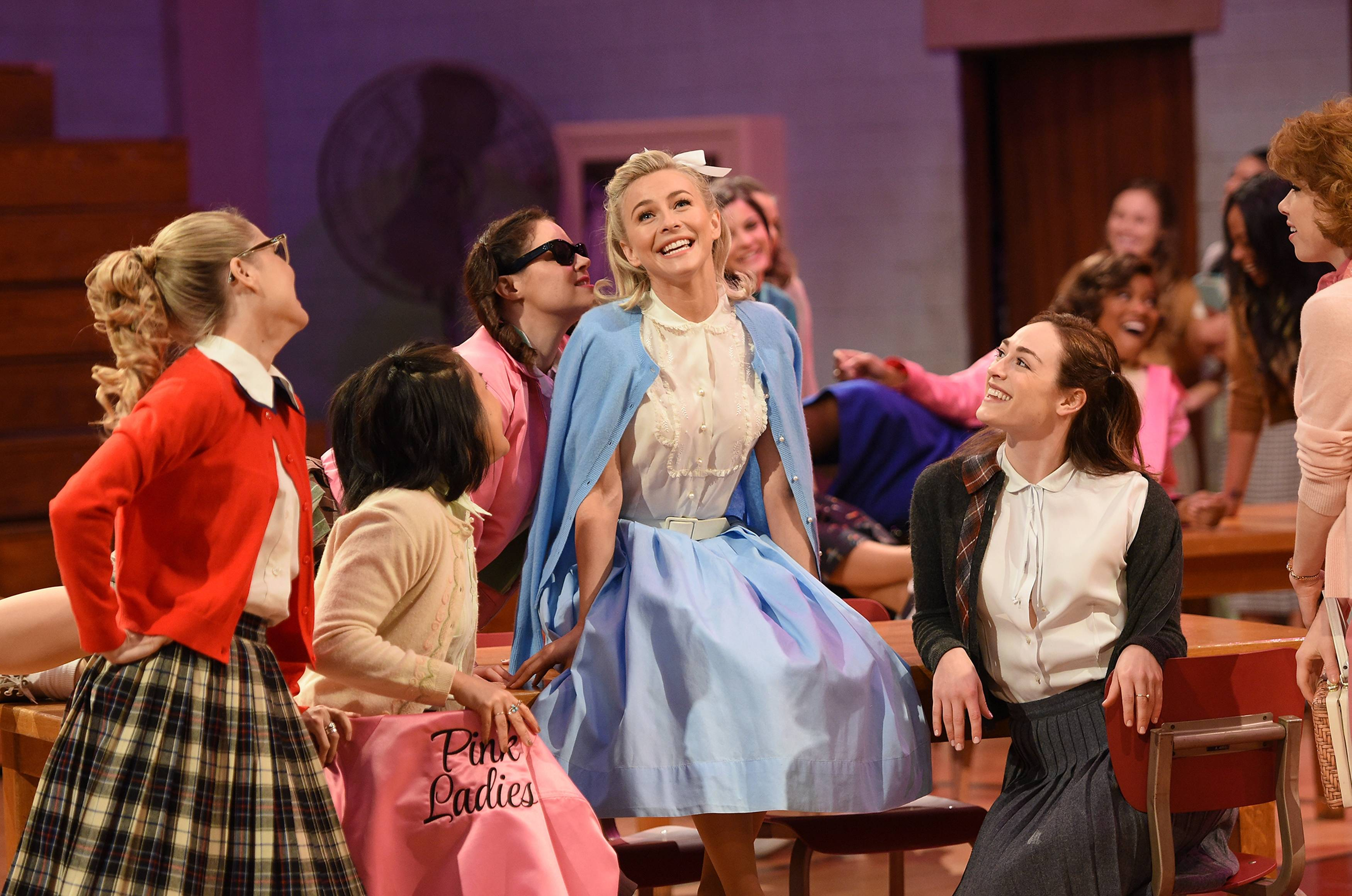 Julianne Hough as 'Sandy' and cast rehearse for GREASE: LIVE.