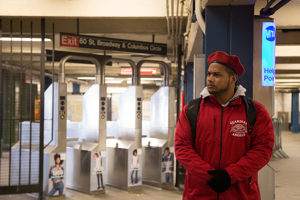 The Guardian Angels patrol the New York subway at Columbus Circle for the first time in 22 years after a spree of slashing attacks.