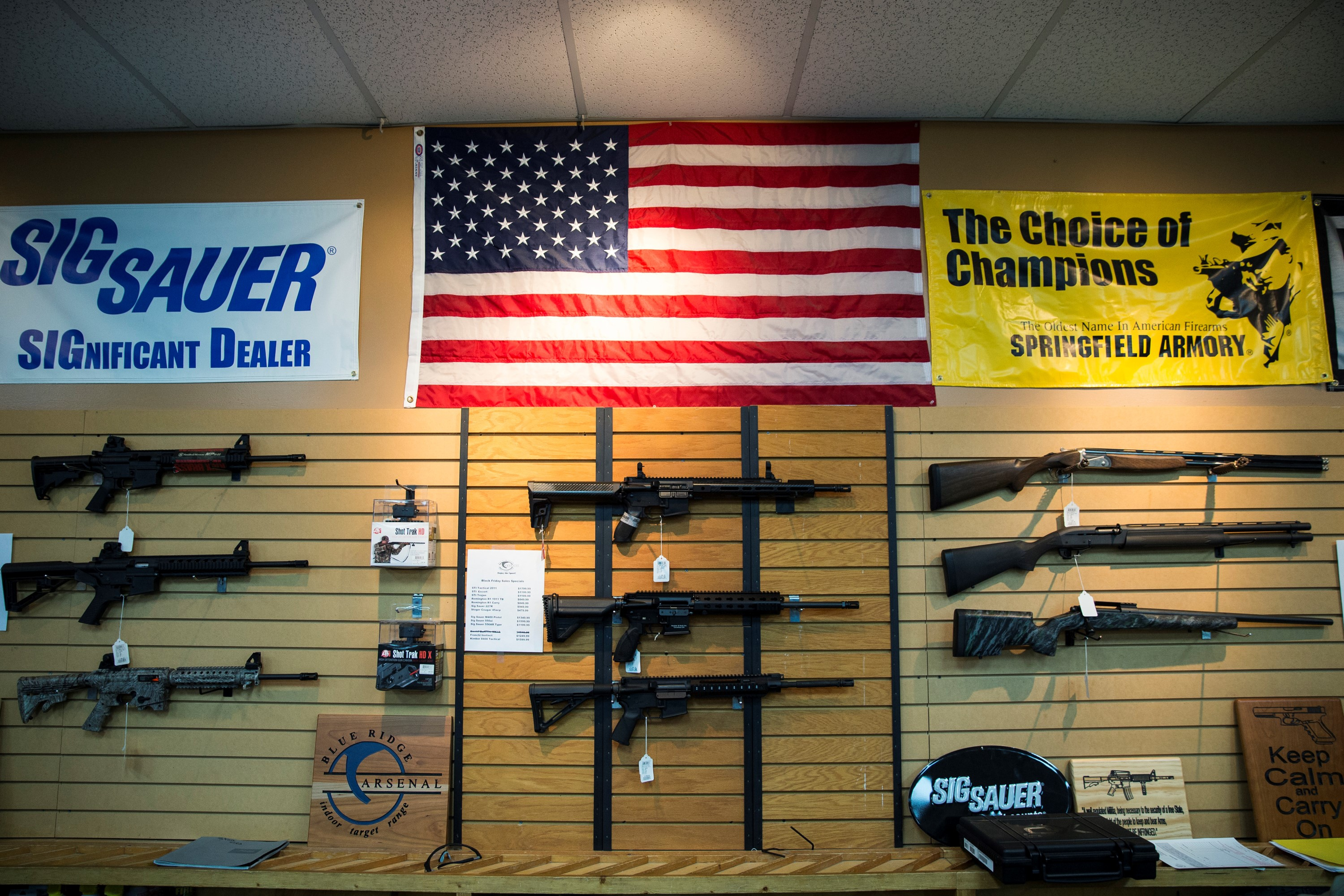 Rifles and shotguns for sale at Blue Ridge Arsenal in Chantilly, Va. on Jan. 9, 2015.