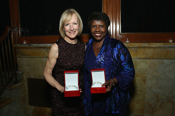 Journalists and honorees Judy Woodruff (L) and Gwen Ifill attend The Women's Media Center 2015 Women's Media Awards on Nov. 5, 2015 in New York City.